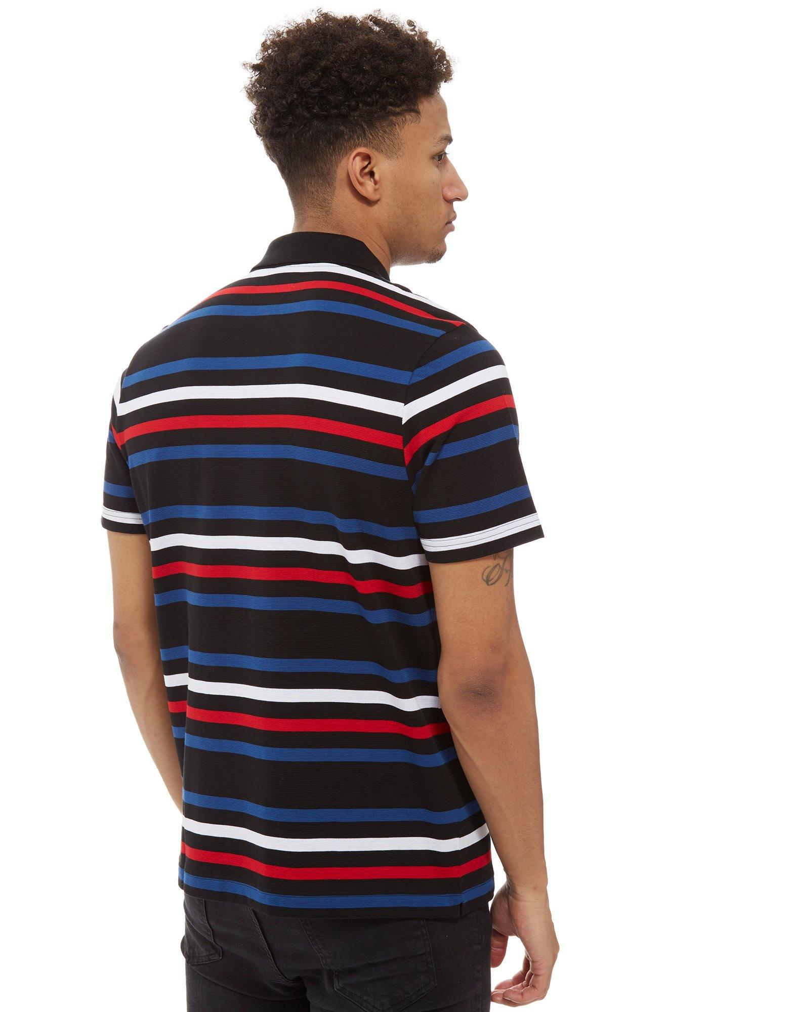 Lyst lacoste stripe short sleeve polo shirt in black for men for Short sleeve lacoste shirt