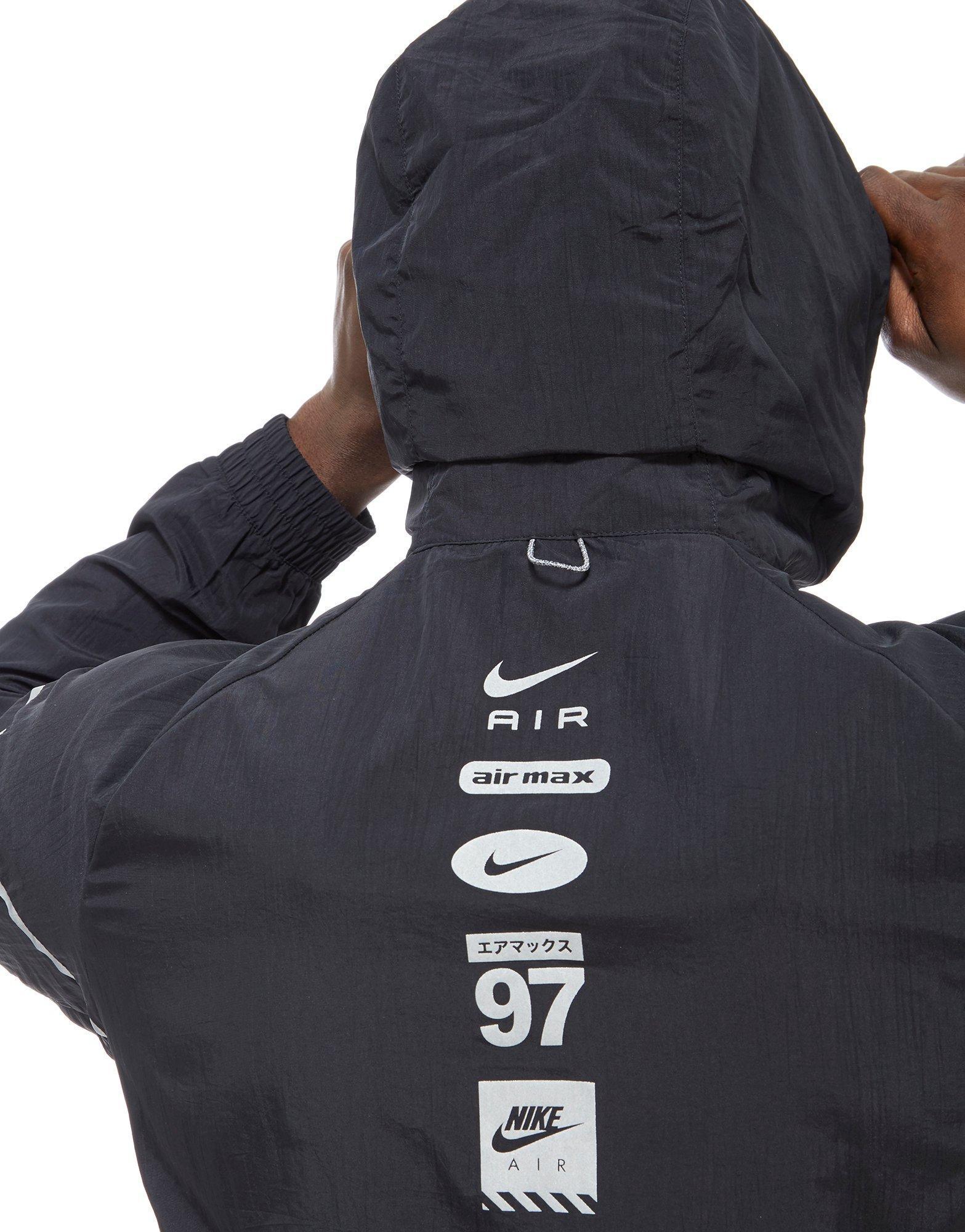 b457b855c683 Nike Air Hybrid 1 2 Zip Woven Jacket in Black for Men - Lyst