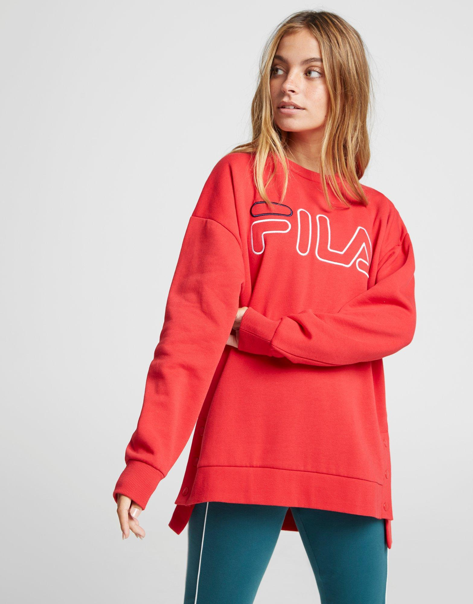 d2e767a422fc Fila Logo Popper Crew Sweatshirt in Red - Lyst