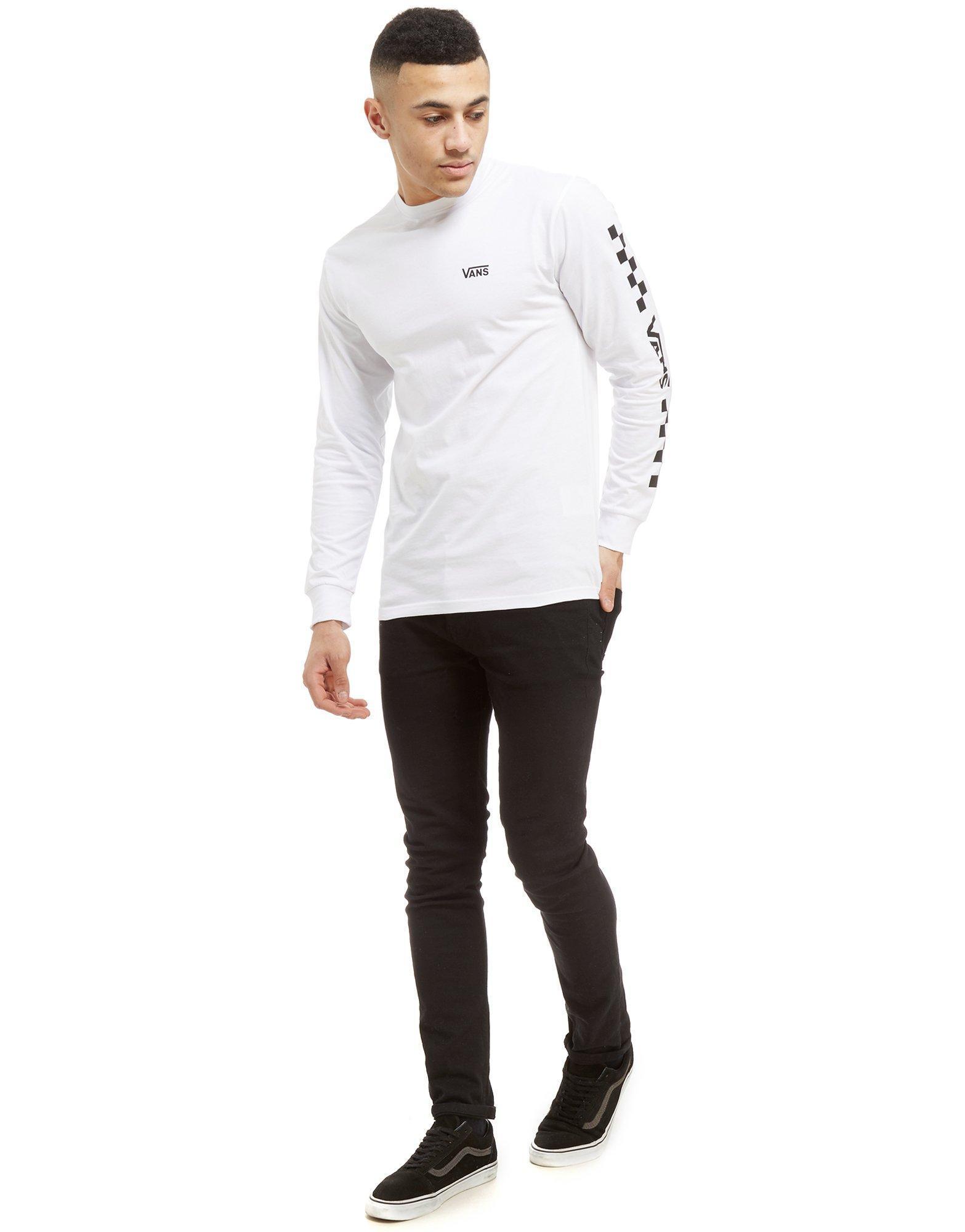 Lyst - Vans Checkered Drop V Long Sleeve T-shirt in White for Men 5713341e0