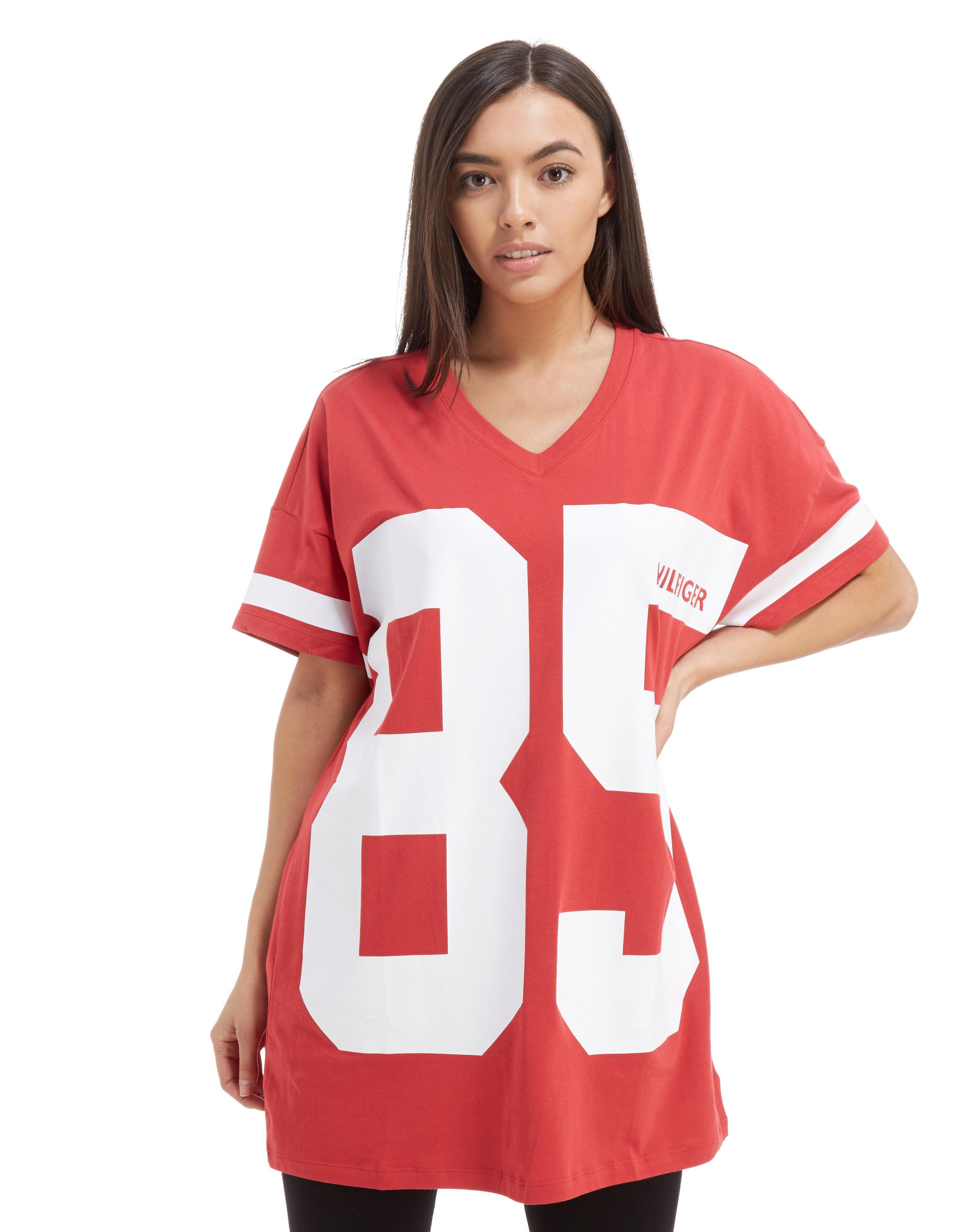 69f5411a49 Tommy Hilfiger 85' Longline T-shirt in Red - Lyst