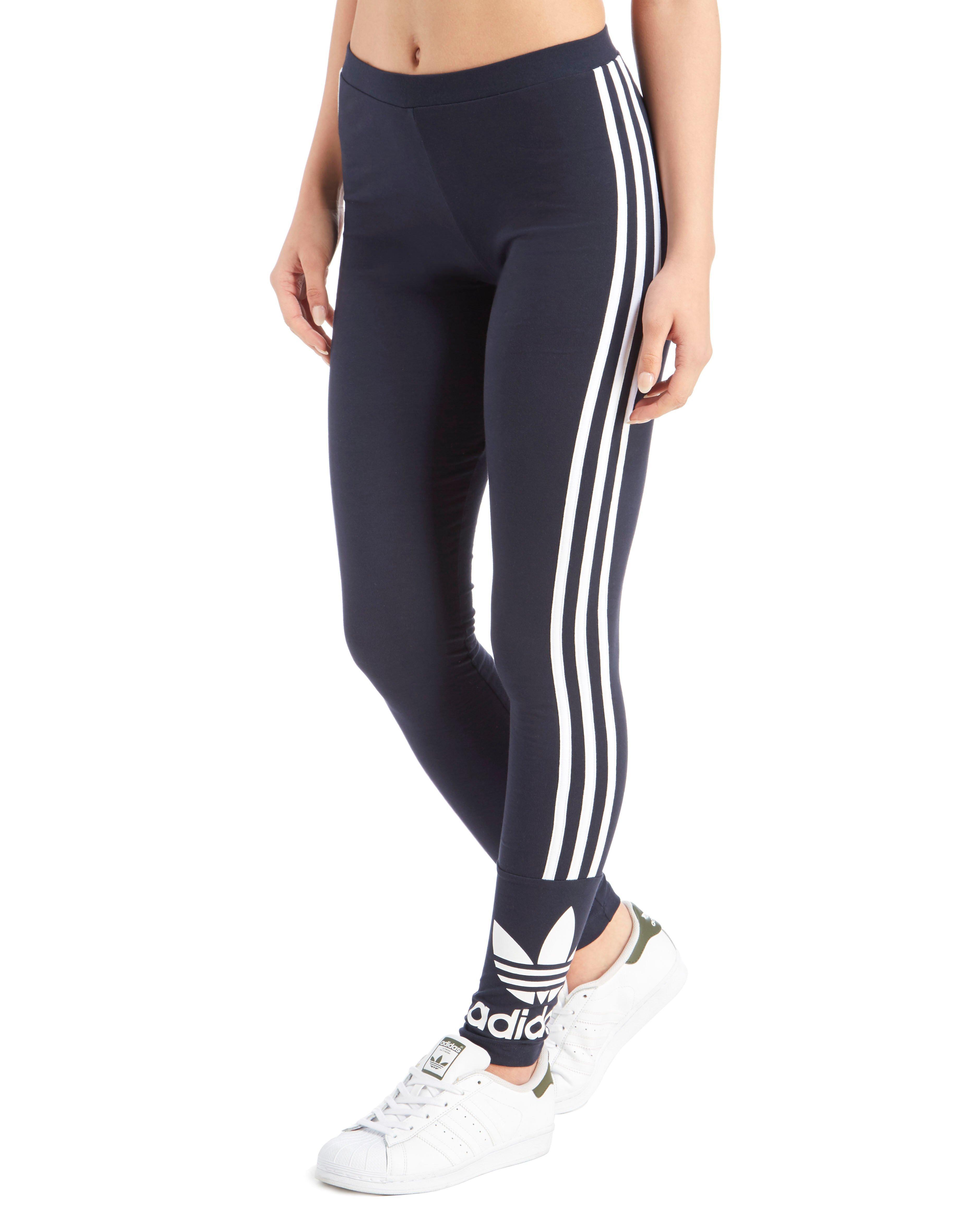 Lyst - Adidas originals 3 Stripe Trefoil Leggings in Blue
