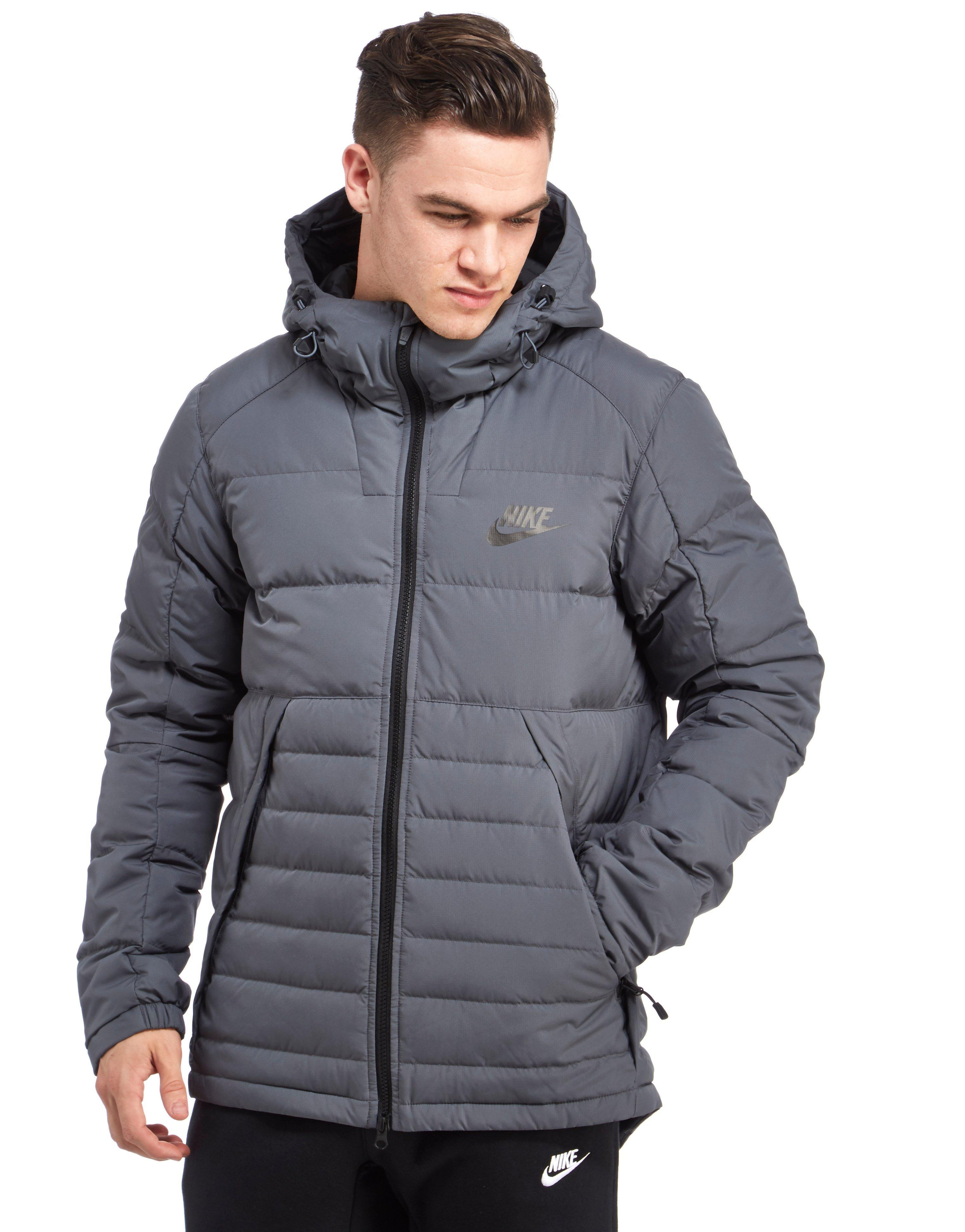 Nike Padded Down Jacket In Gray For Men Lyst