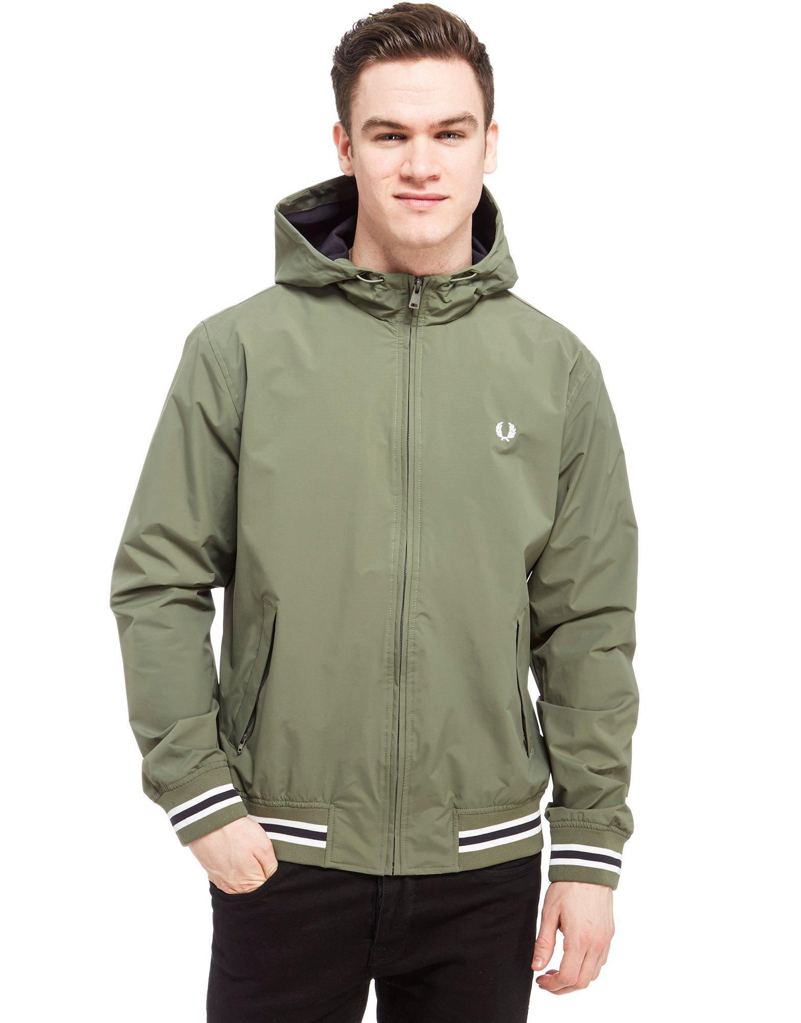 lyst fred perry hooded brentham jacket in green for men. Black Bedroom Furniture Sets. Home Design Ideas