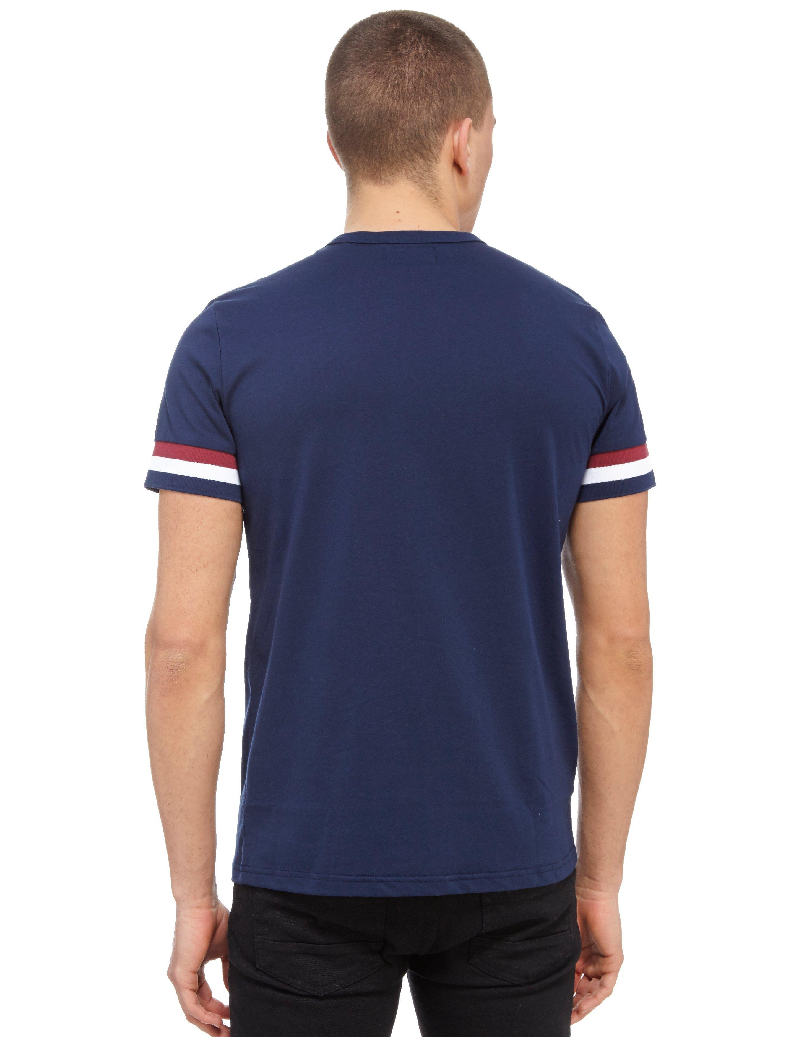 Fred Perry Striped Cuff T Shirt In Blue For Men Lyst