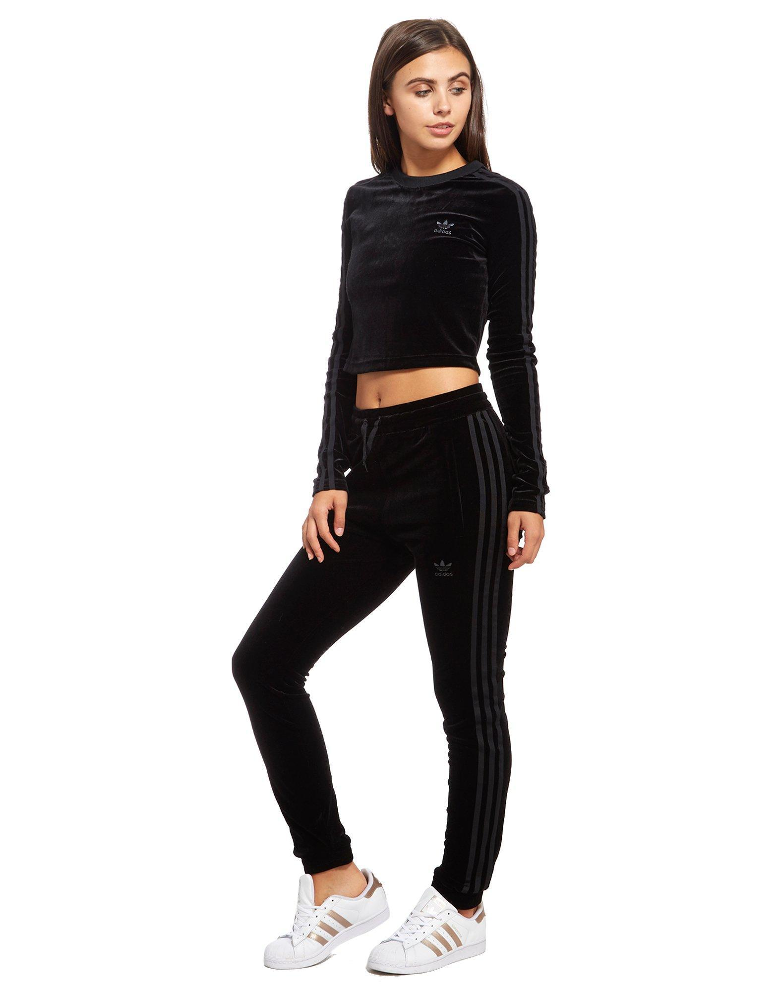 806f09e94 adidas Originals Velvet Vibes Long Sleeve Crop Top in Black - Lyst