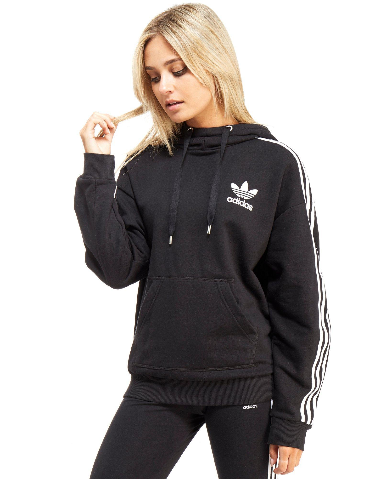 Adidas Originals Three Stripe Hoody In Black Lyst