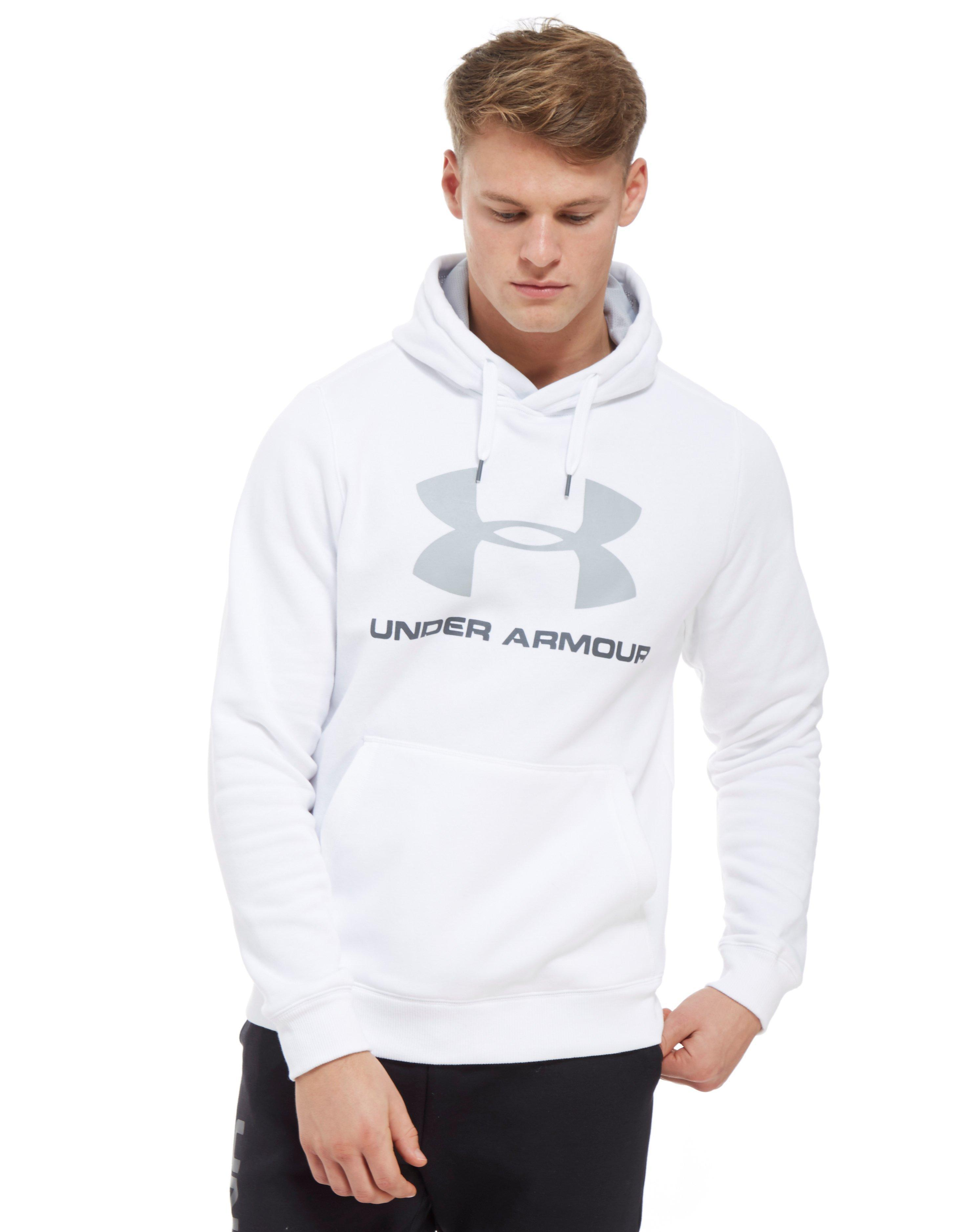 a383fd07a Under Armour Rival Fleece Graphic Hoodie in White for Men - Lyst
