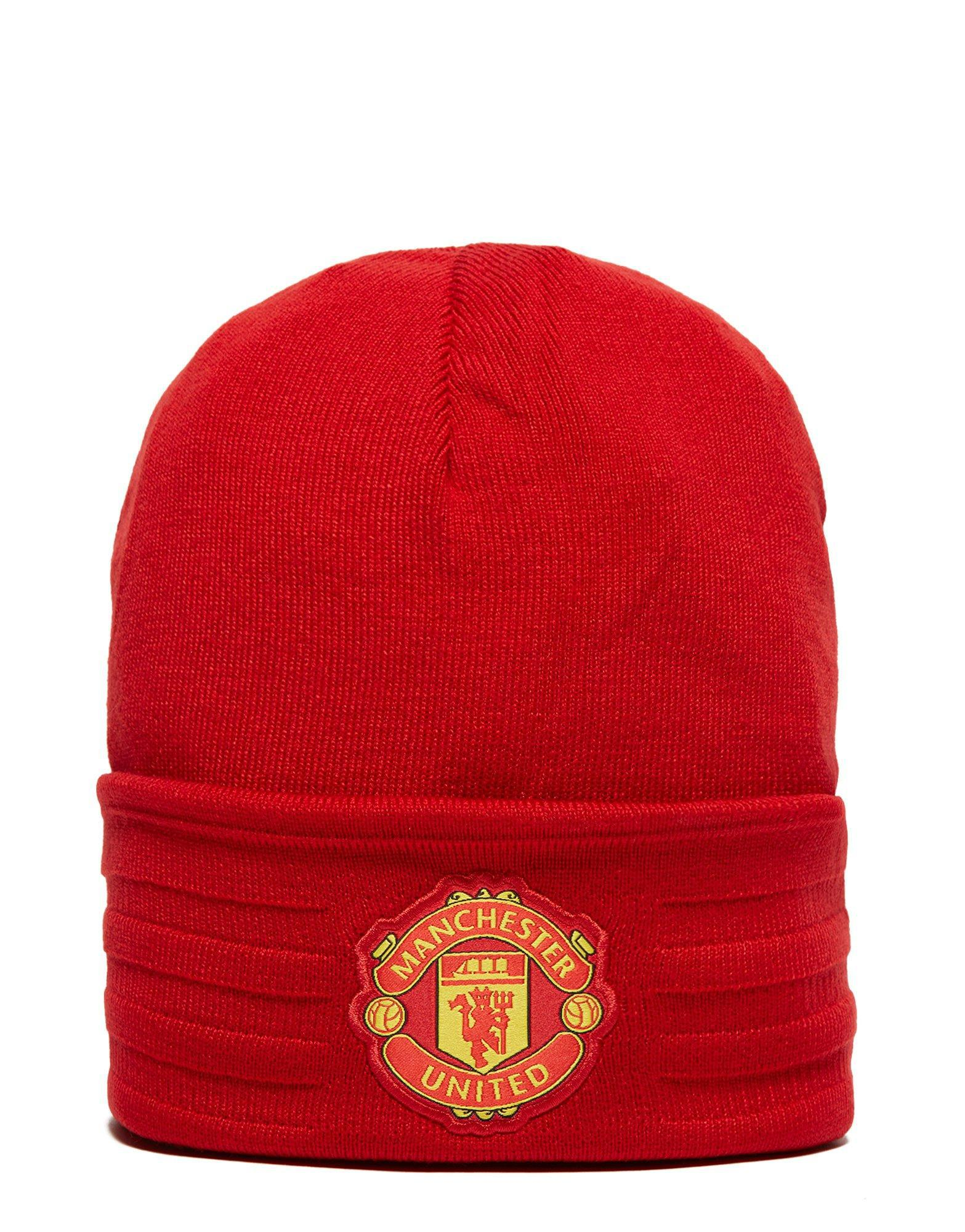 competitive price 52a08 038ab ... discount lyst adidas originals manchester united 3 stripes wooly hat in  red ede24 80a1d ...