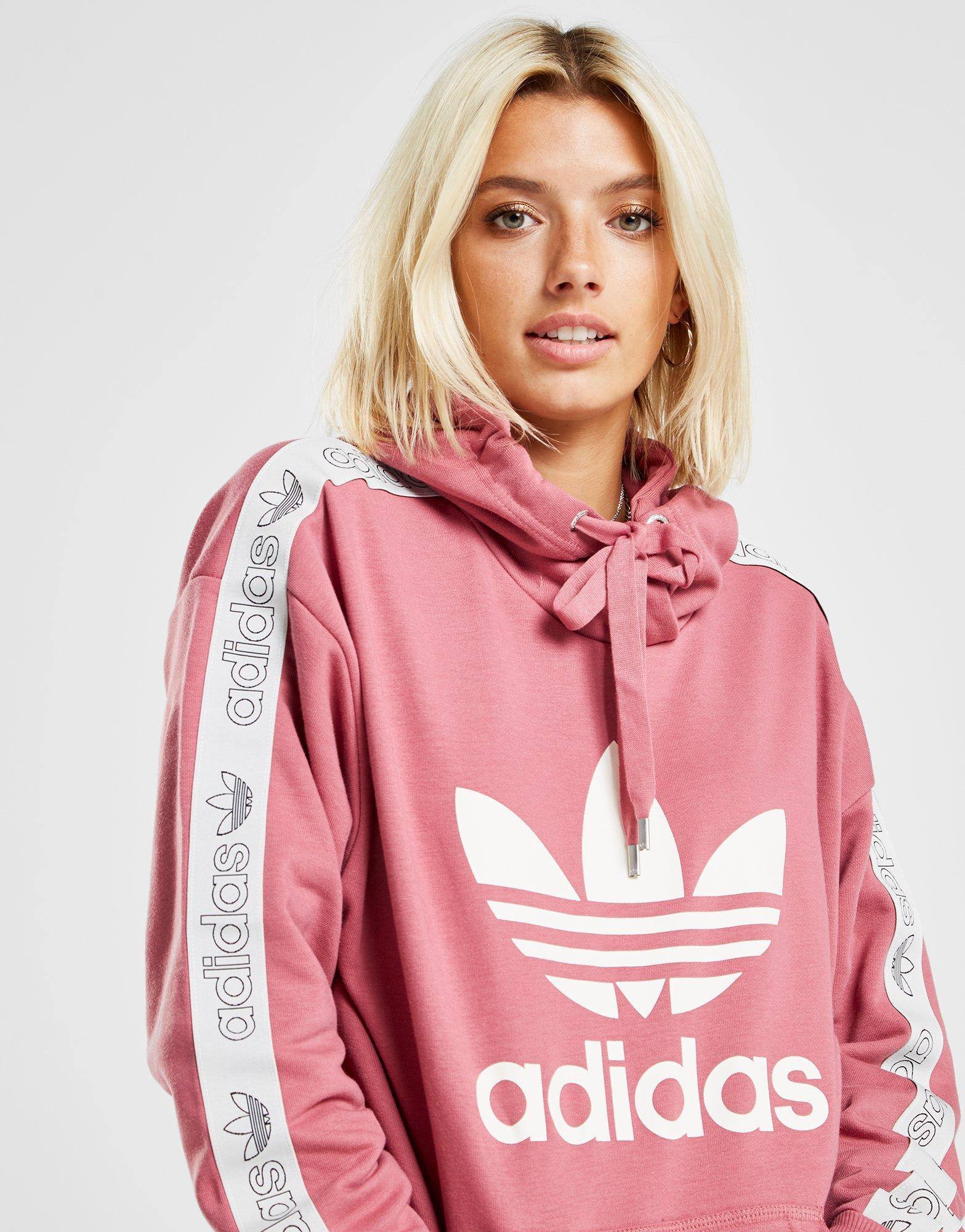 adidas Originals Tape Overhead Hoodie in Pink - Lyst 40e94552a
