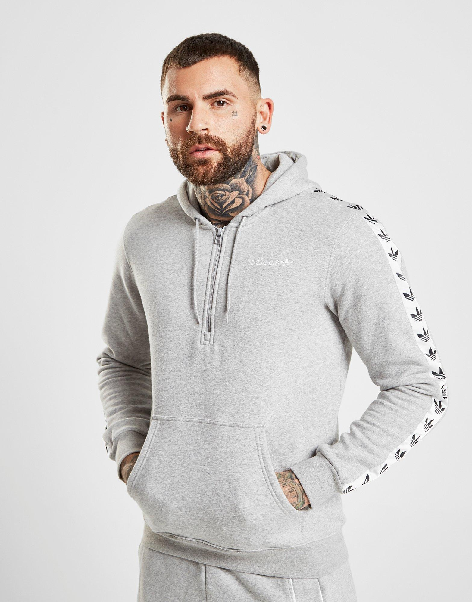 low priced shopping price reduced Adidas Originals Gray Tape Fleece 1/2 Zip Hoodie for men