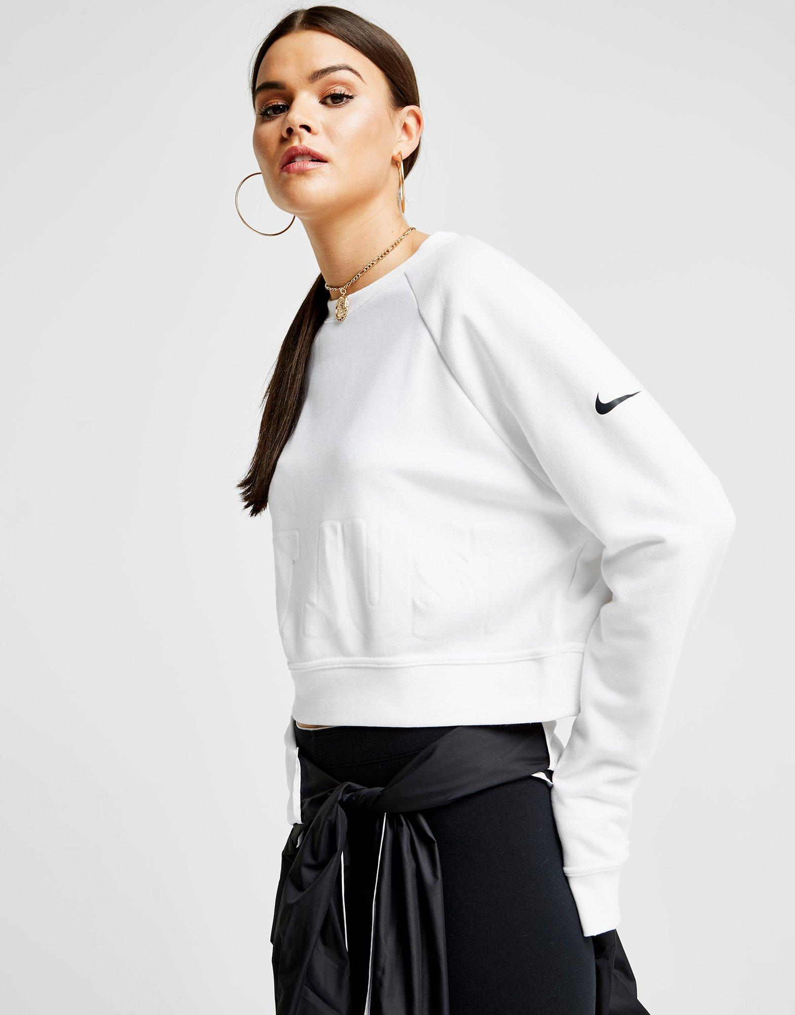 1261ad415ac5b Lyst - Nike Training Crop Just Do It Crew Sweatshirt in White