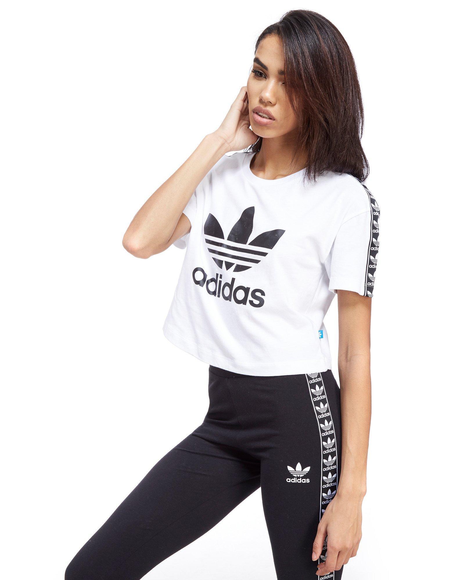 c509ae281d6 adidas Originals Tape Crop T-shirt in White - Lyst