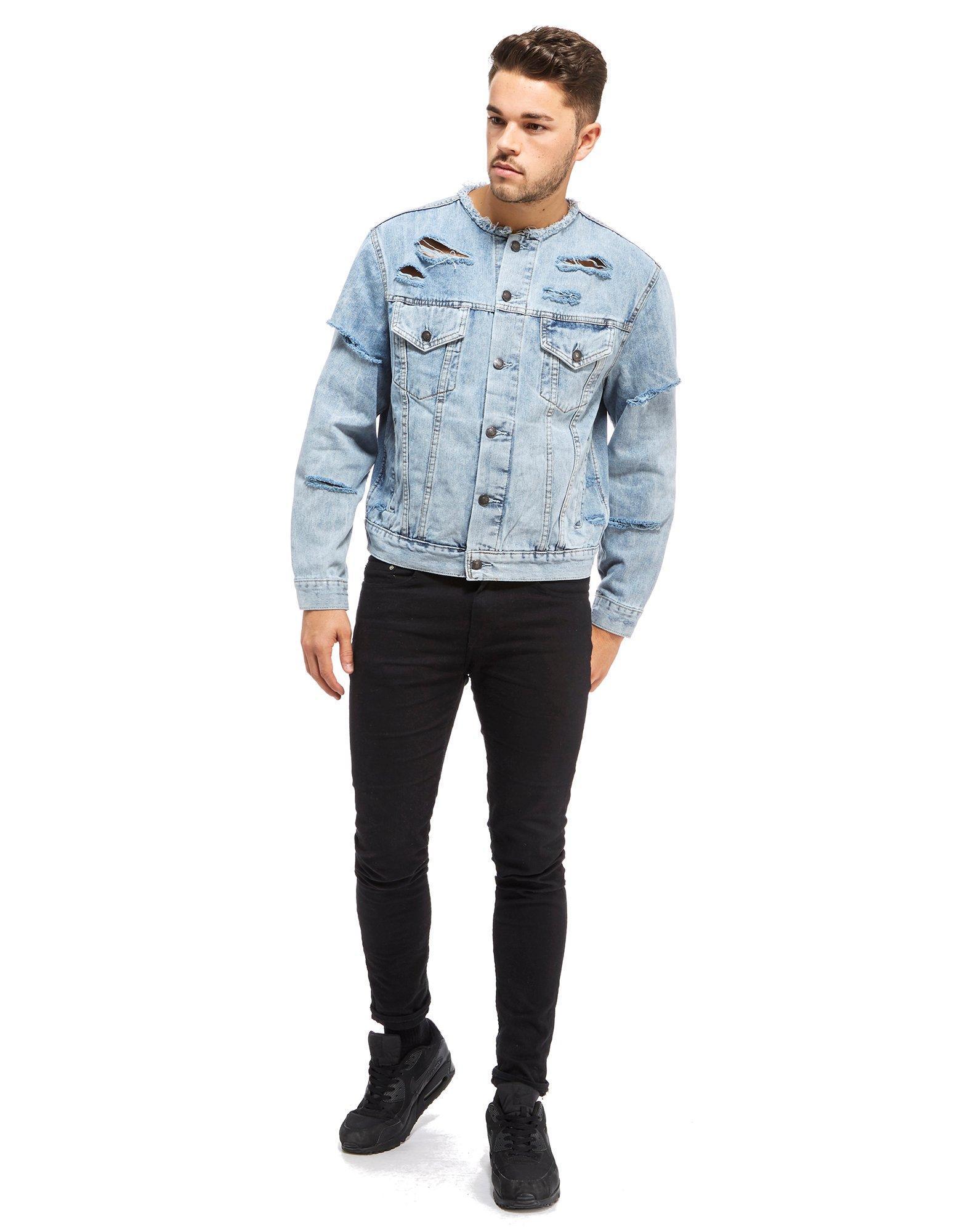 deb25fb92e Lyst - SIKSILK Collarless Denim Jacket in Blue for Men
