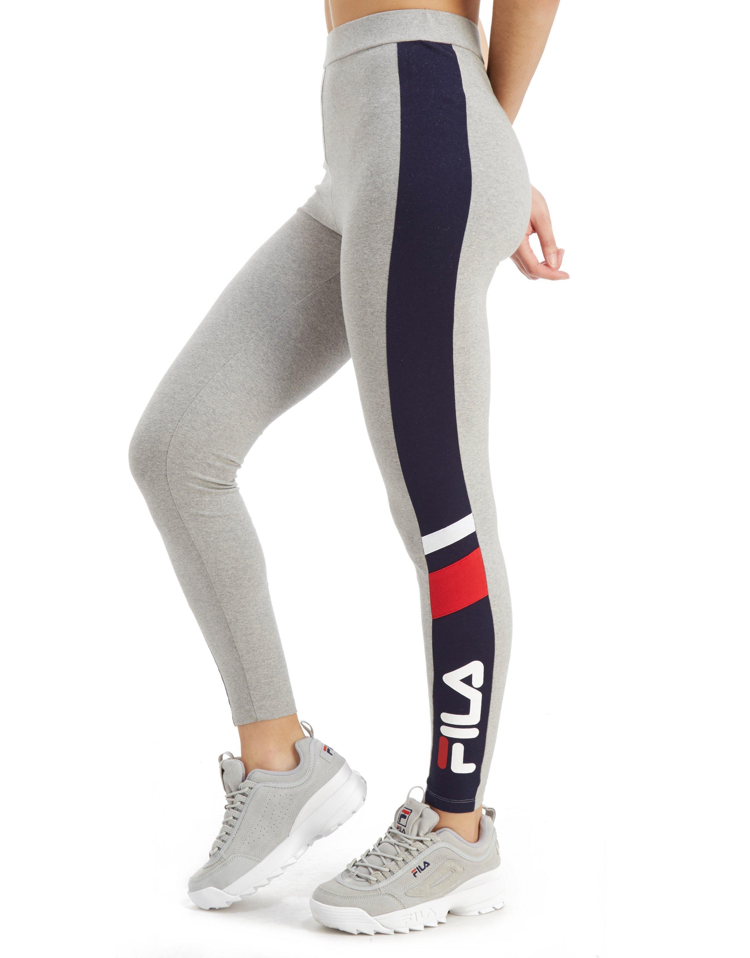 ef3030c9a909a Lyst - Fila Panel Logo Leggings in Gray