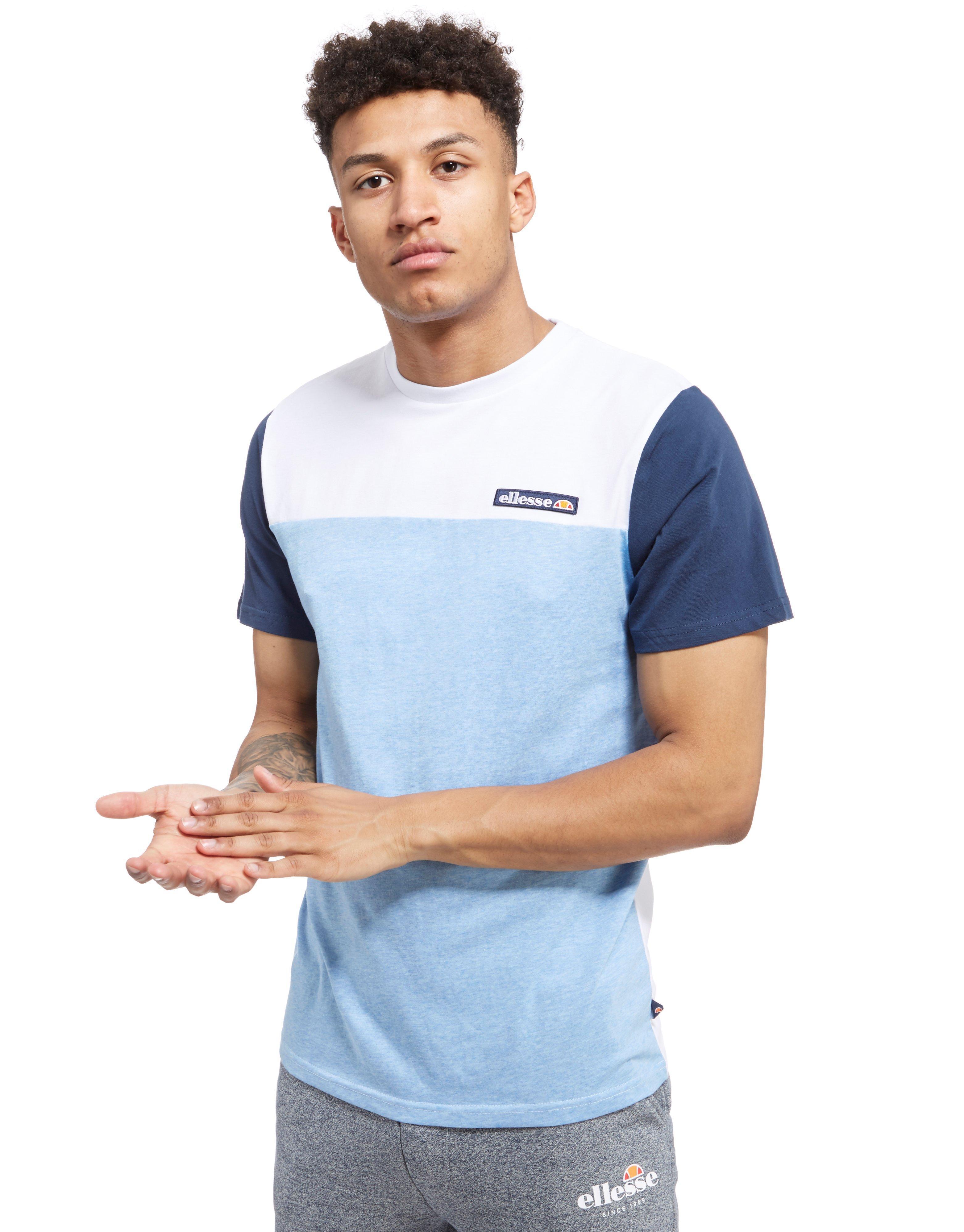 ellesse paltrio colour block t shirt in blue for men lyst. Black Bedroom Furniture Sets. Home Design Ideas