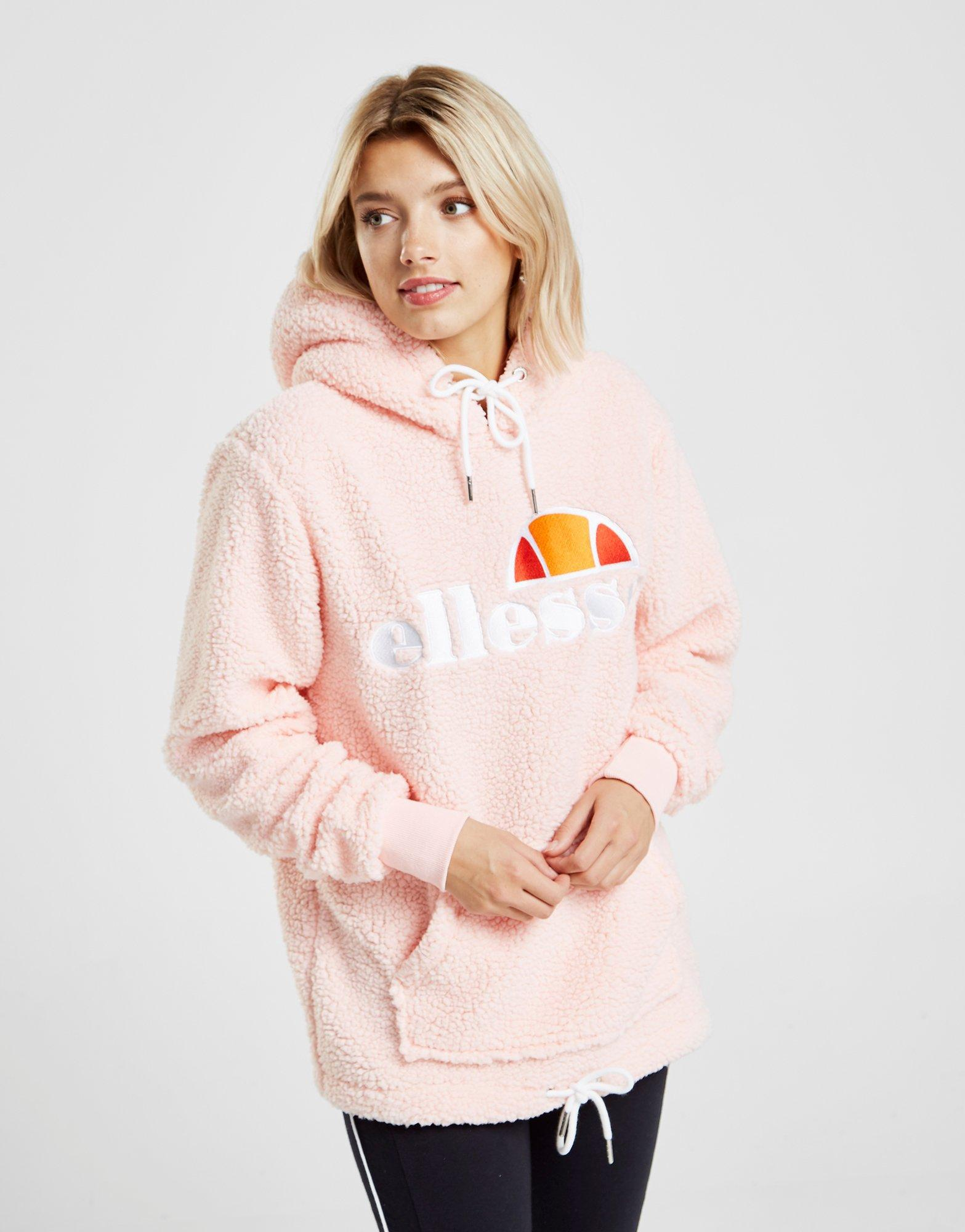 best quality for hot product highly praised Ellesse Cotton Sherpa Boyfriend Overhead Hoodie in Pink - Lyst