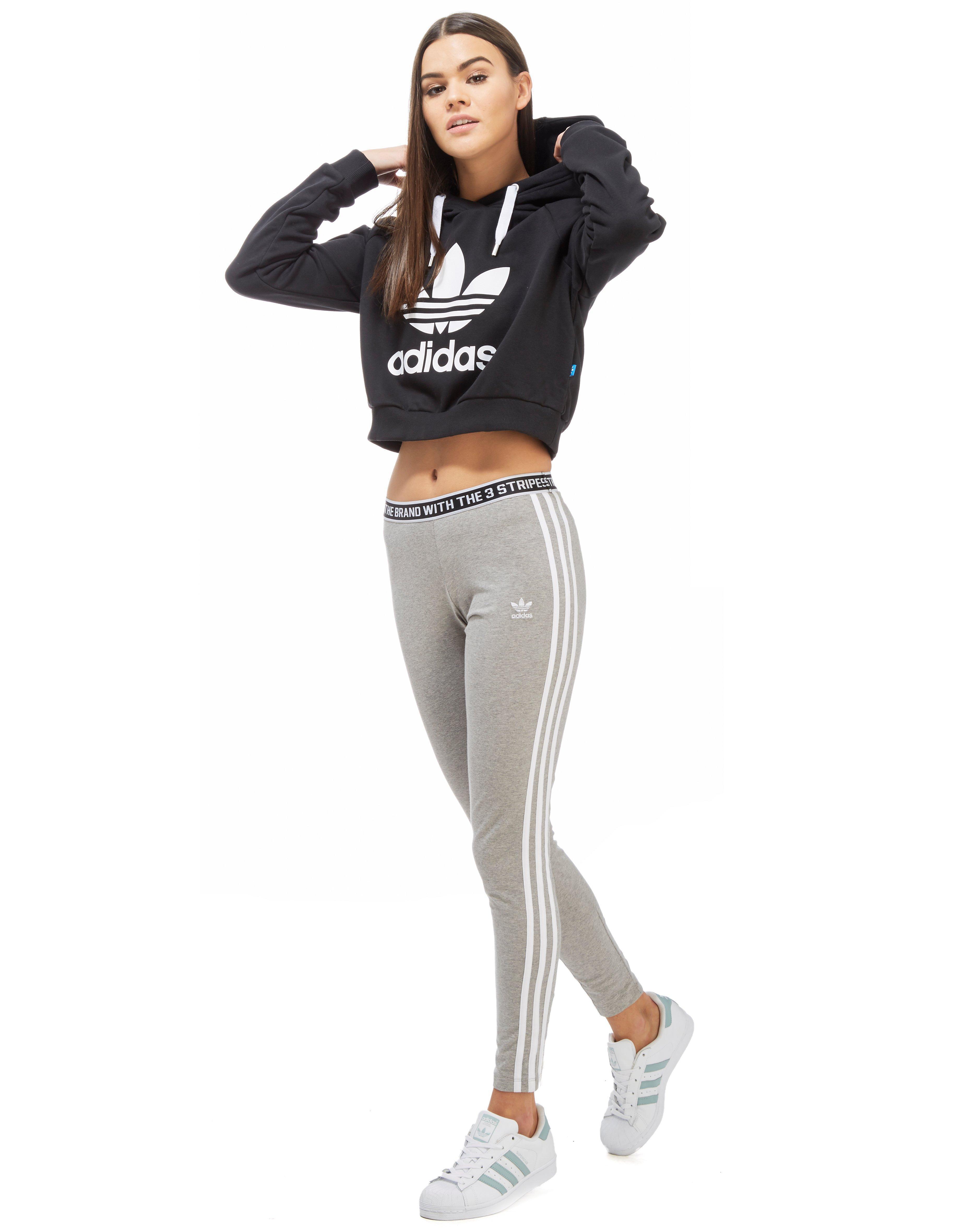 be543966 adidas Originals Trefoil Crop Hoody in Black - Lyst
