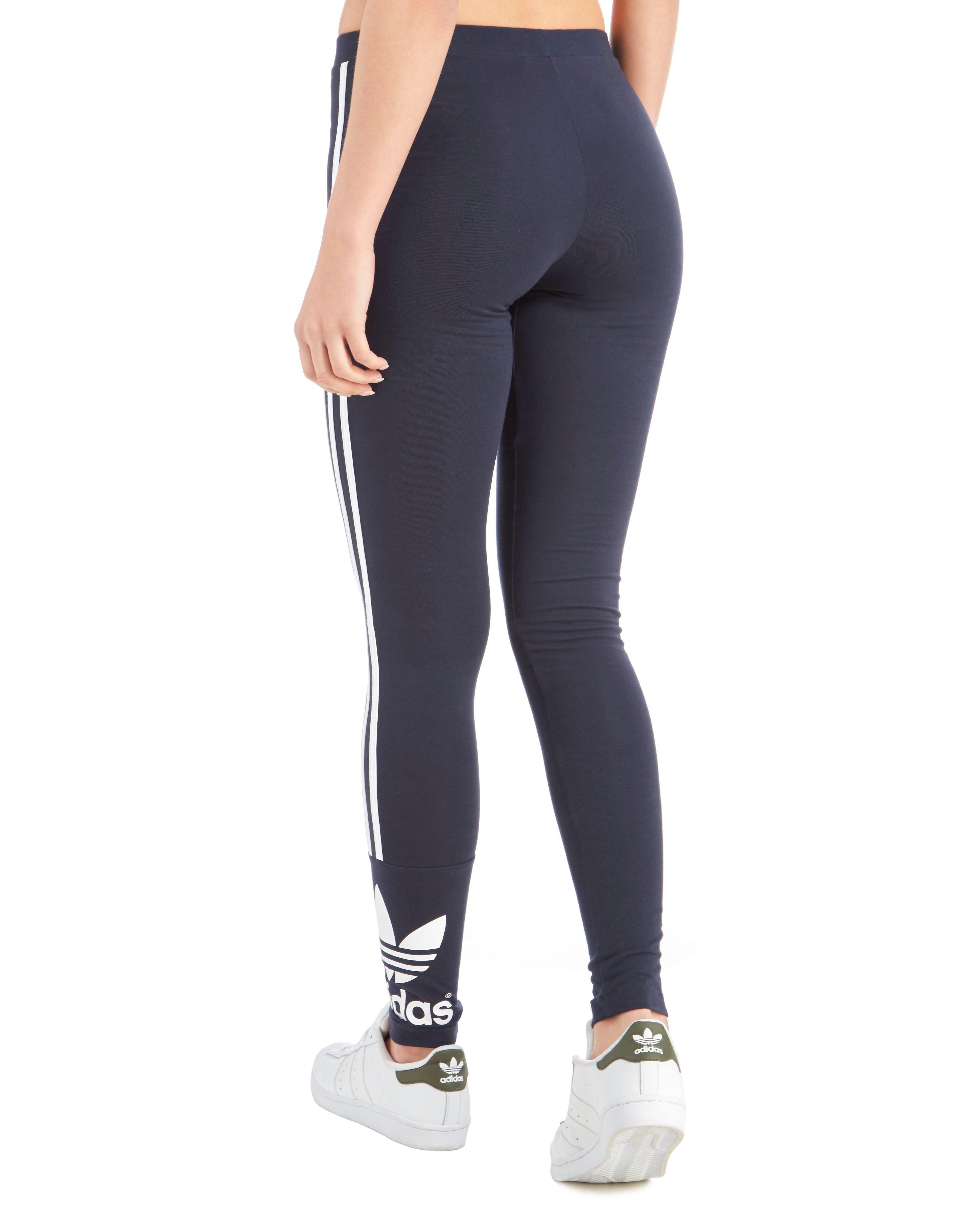 b5f3c74fc82a99 adidas Originals 3 Stripe Trefoil Leggings in Blue - Lyst