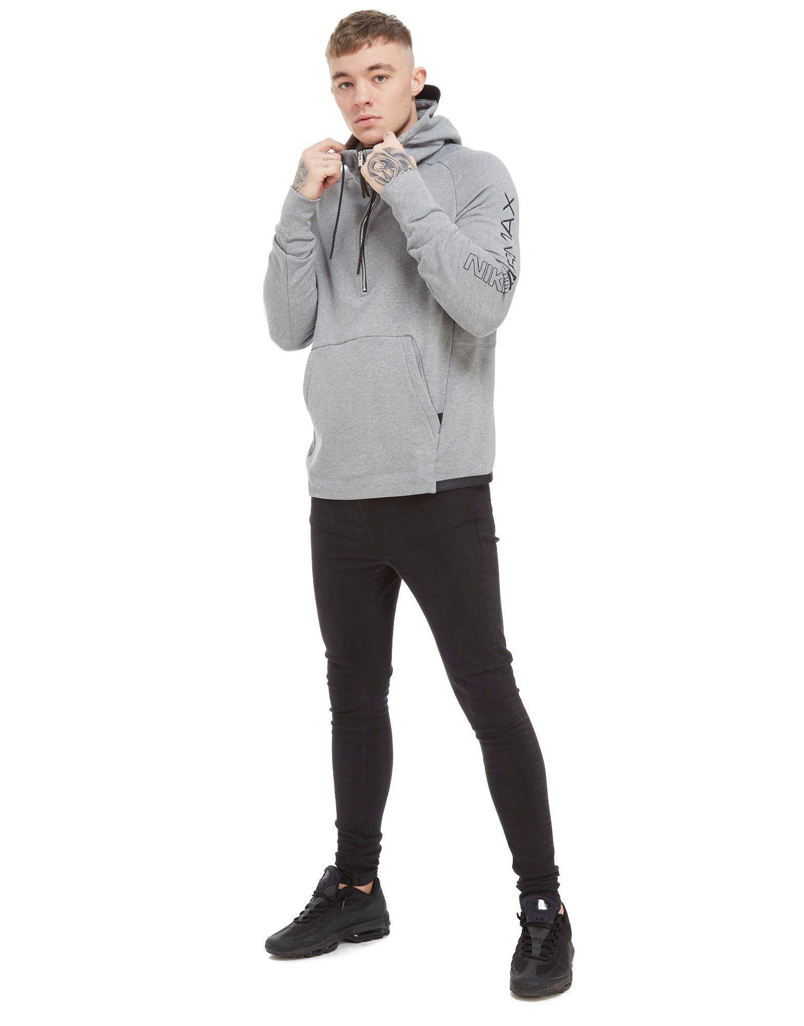 Nike Gray Airmax Ft 12 Zip Hoodie for men