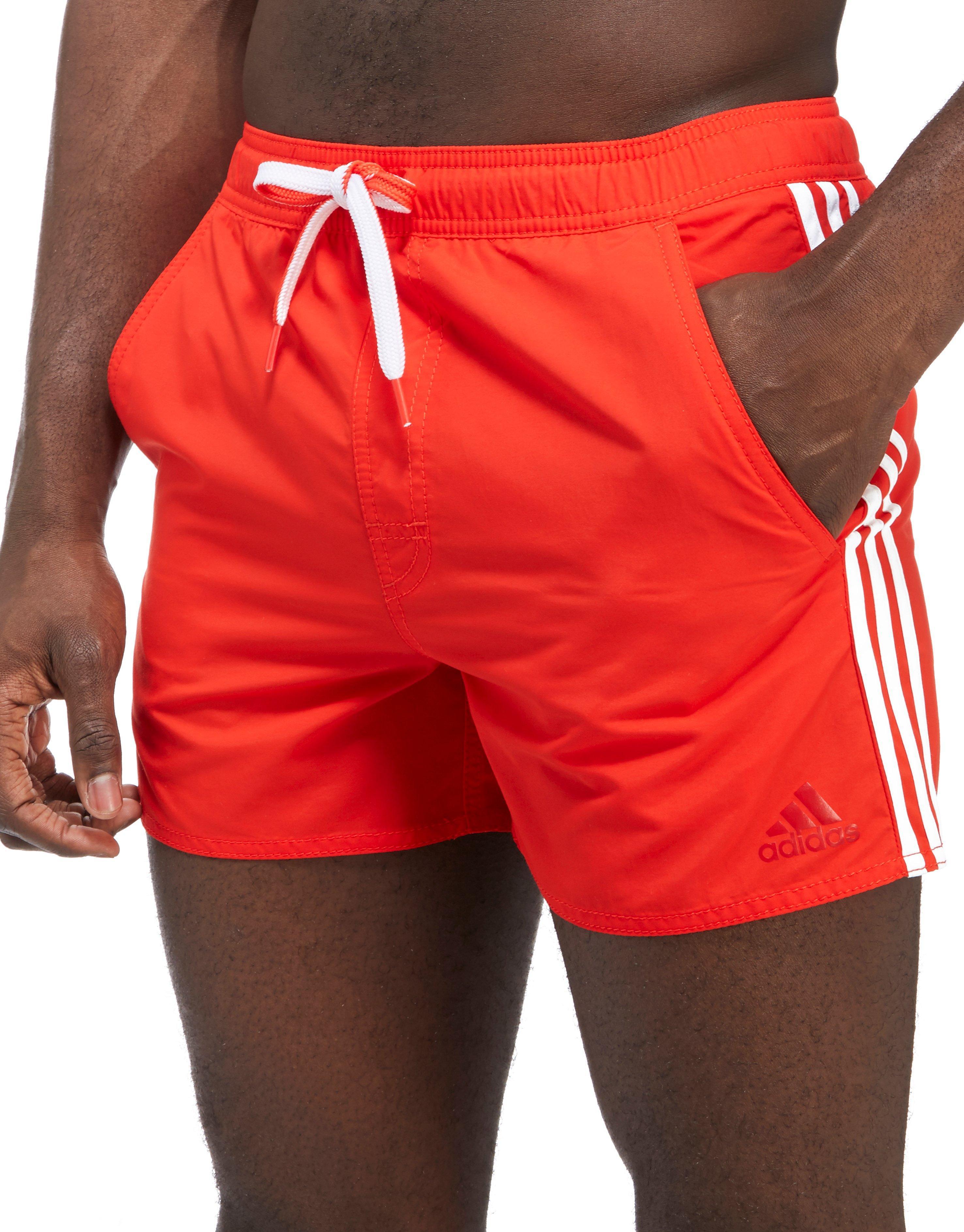 2cdf321690 adidas 3-stripes Swim Shorts in Red for Men - Lyst