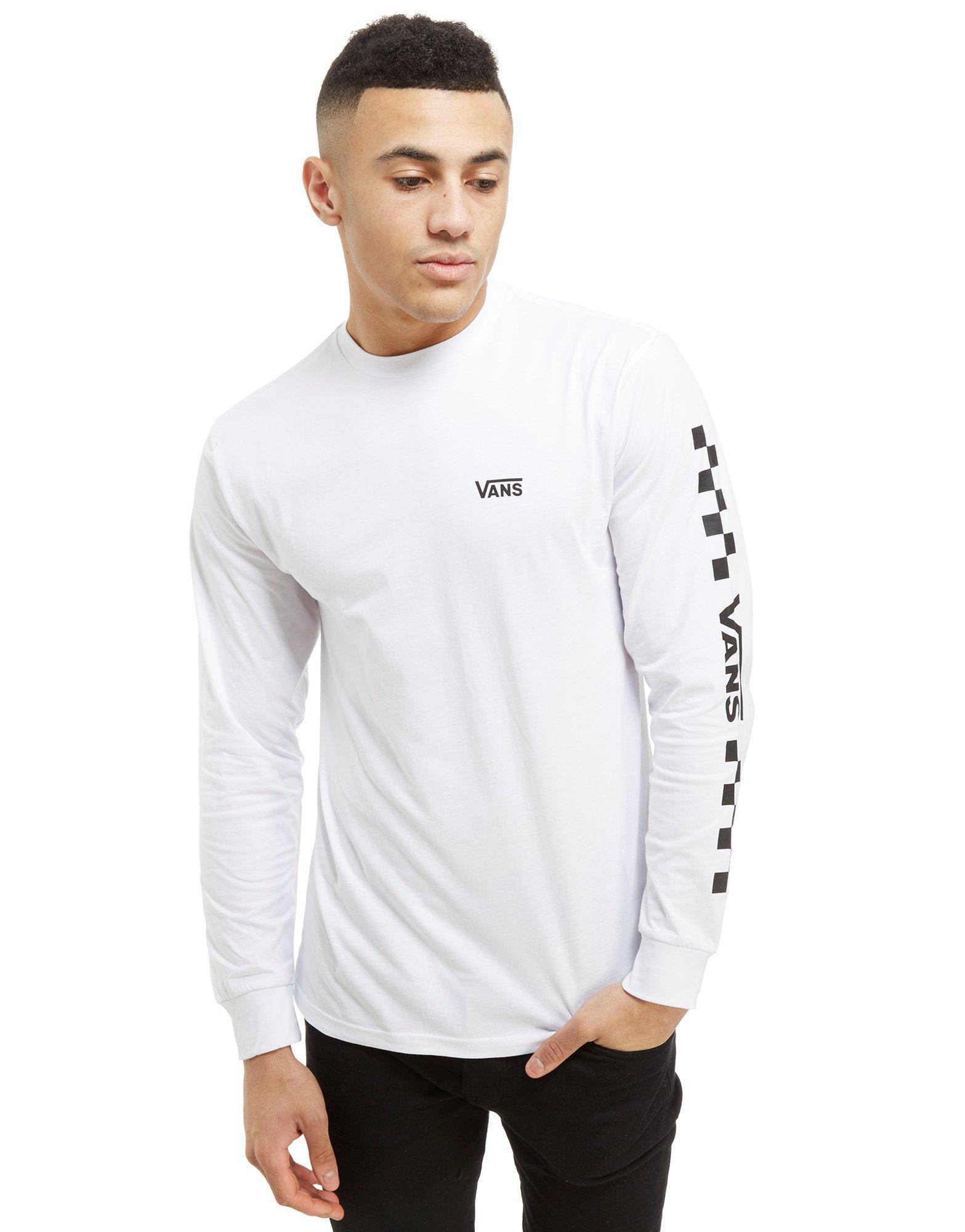 26af56c2254 Lyst - Vans Checkered Drop V Long Sleeve T-shirt in White for Men