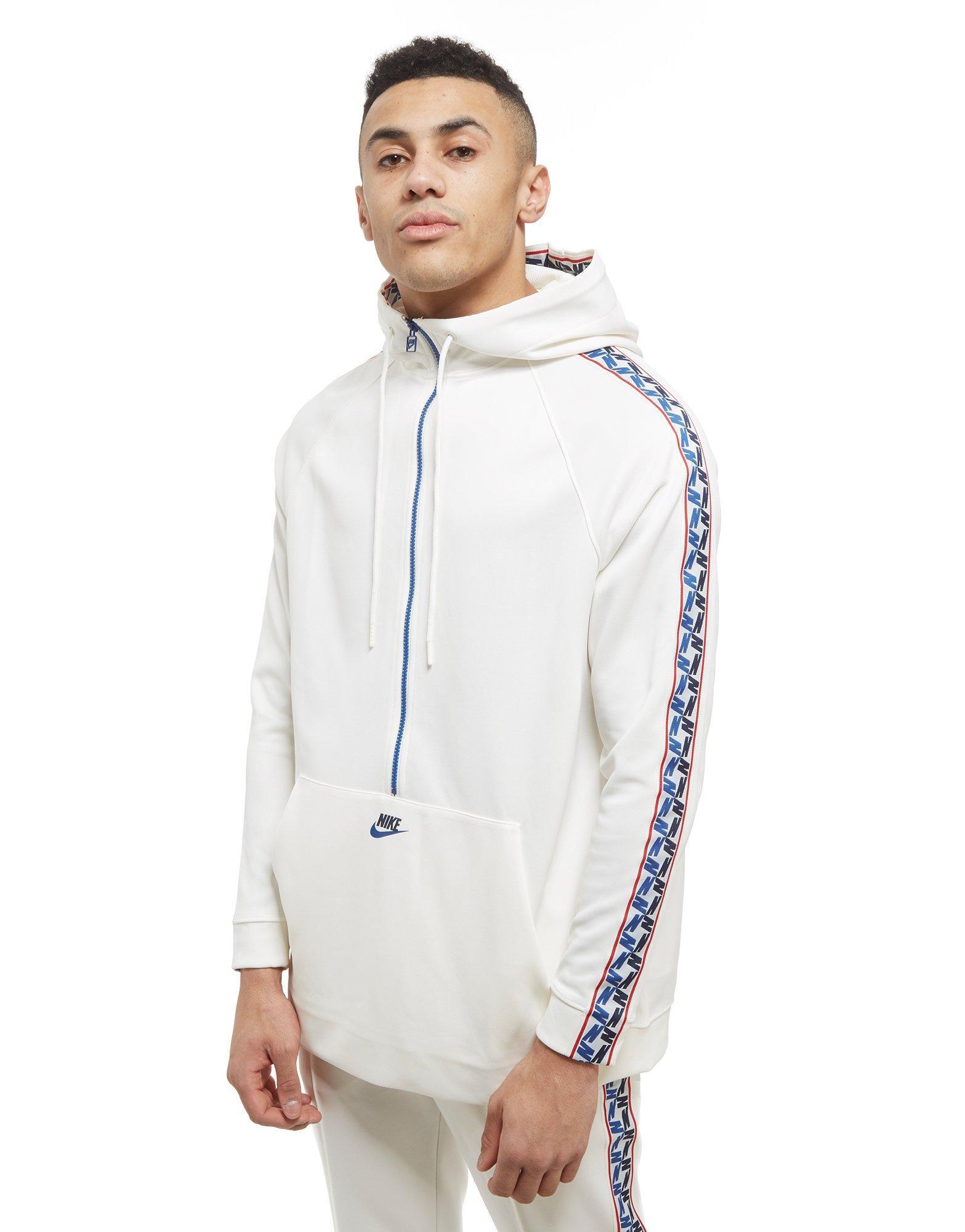 0cf397c8bfe8 Nike Tape Poly 1/2 Zip Hoodie in White for Men - Lyst