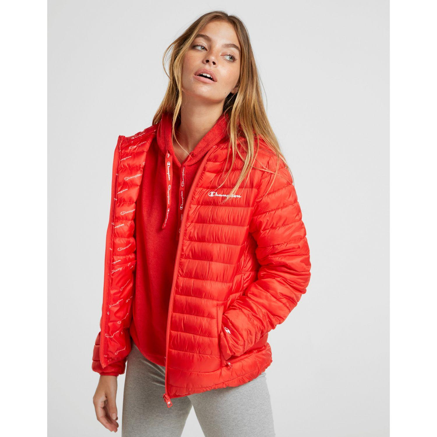 ec4dff09cb Champion Padded Logo All Over Print Reversible Jacket in Red - Lyst