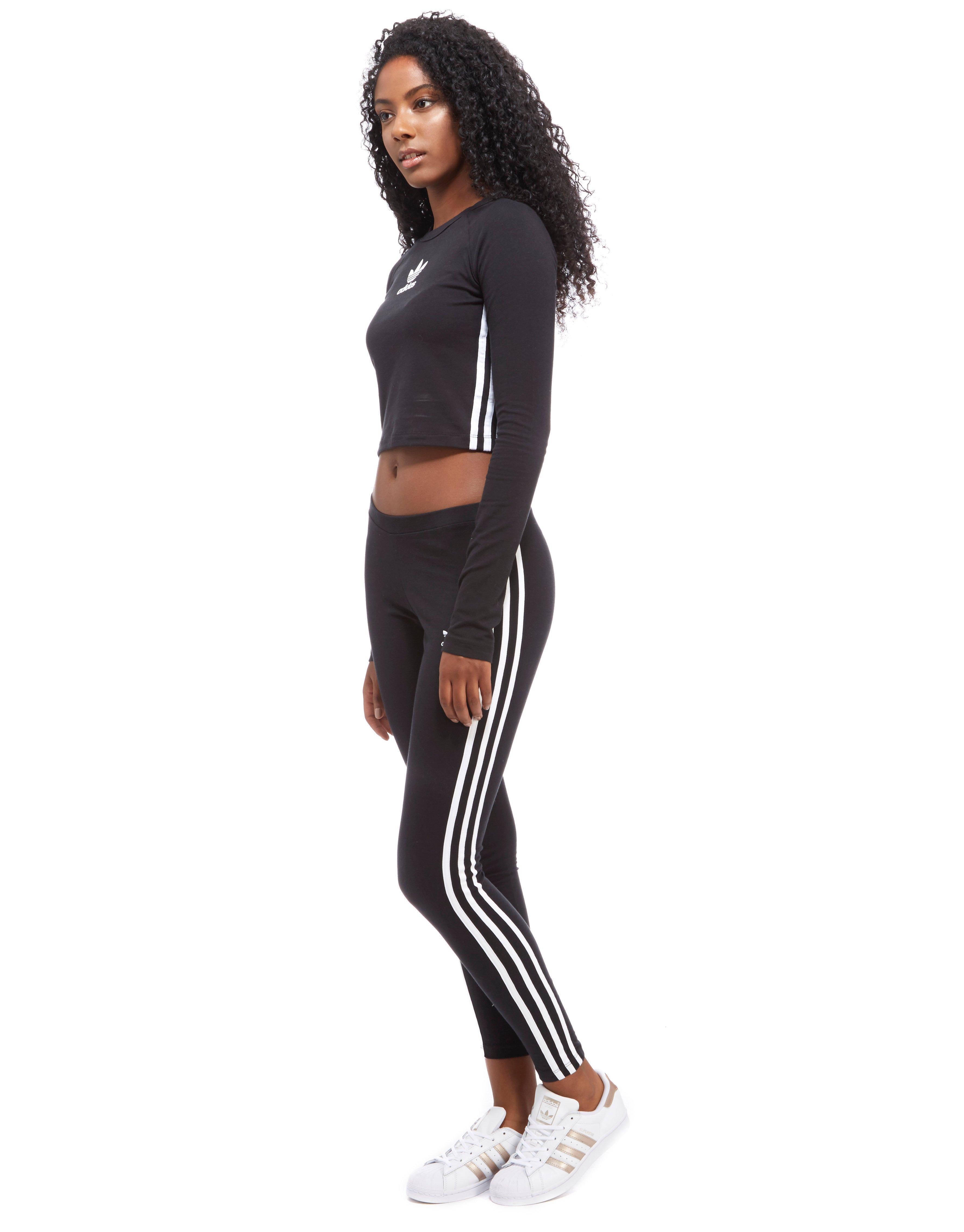 d8b2cb0ba8b adidas Originals 3-stripes Long Sleeve Crop Top in Black - Lyst