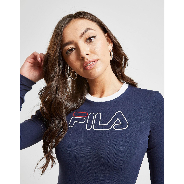 Fila Piping Long Sleeve Bodysuit in Blue - Lyst