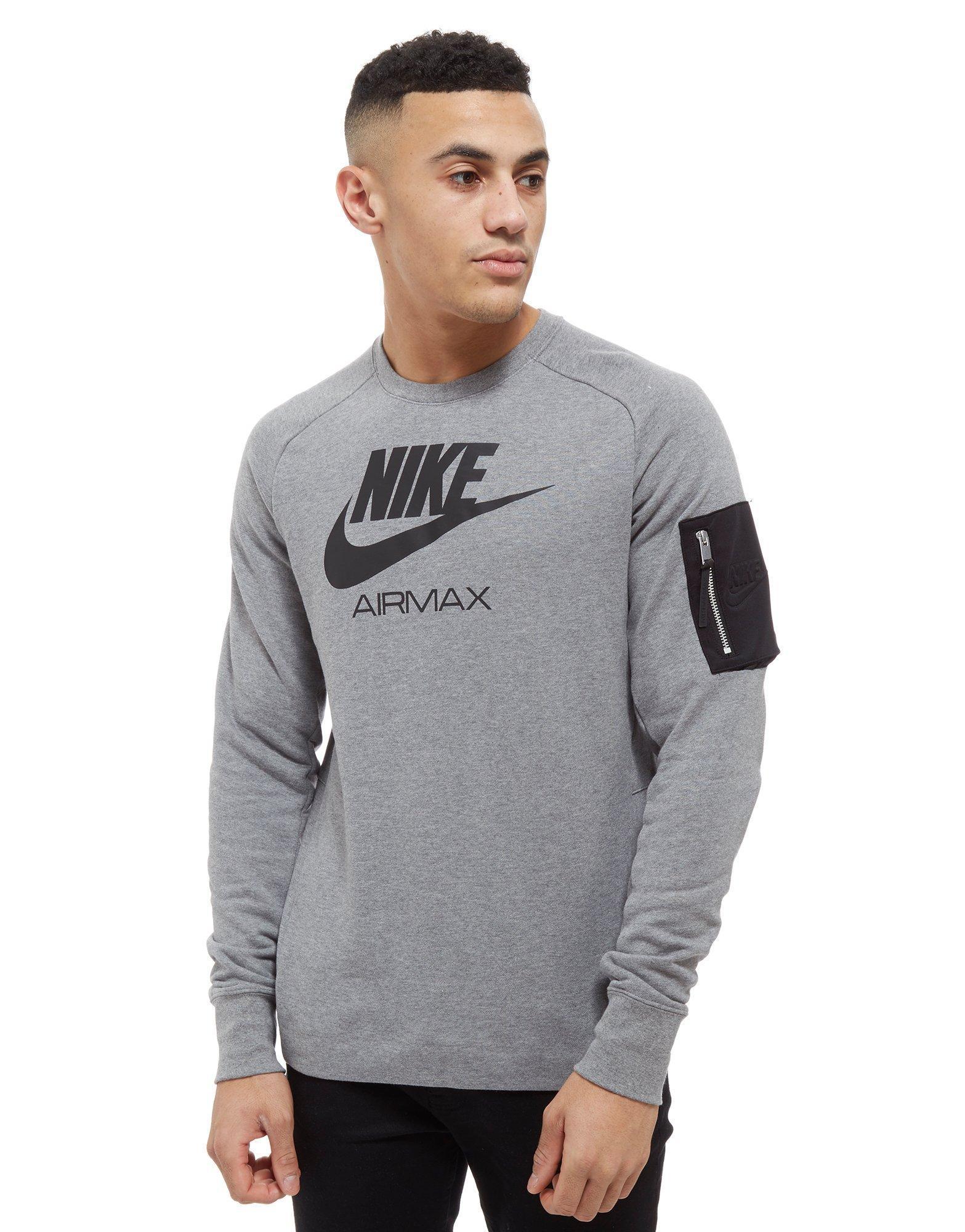 Nike. Men's Gray Air Max Ft Crew Sweatshirt