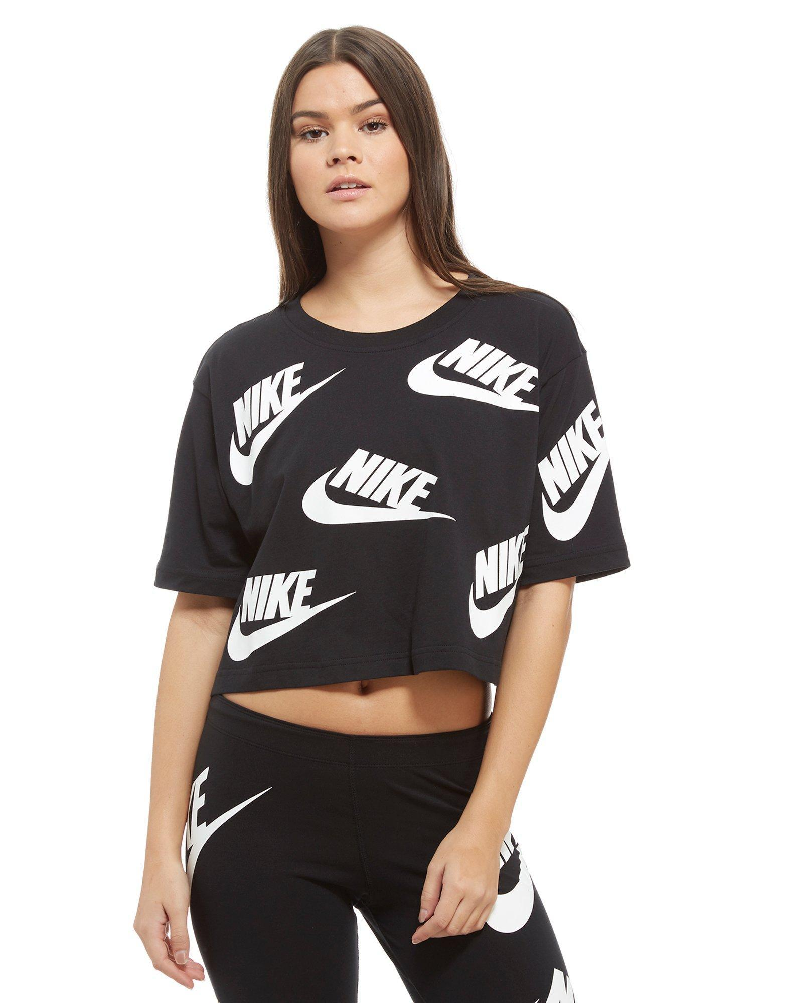 5665e068447 Lyst - Nike All Over Print Futura Crop T-shirt in Black