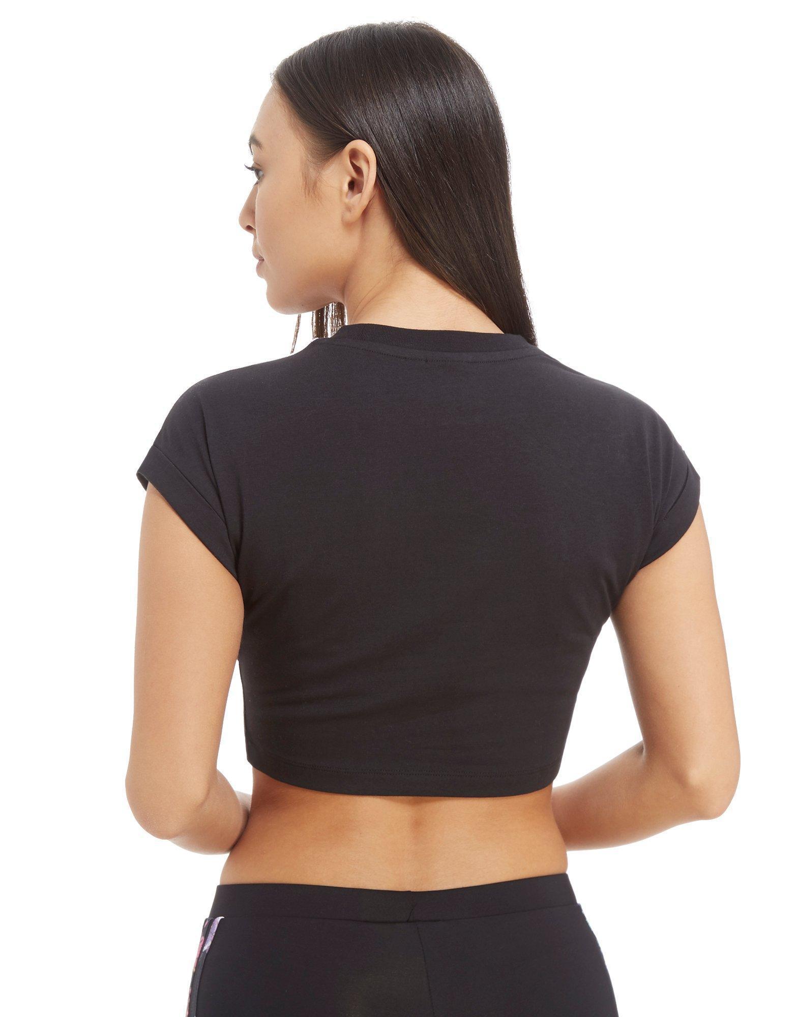 1e408c50547f Lyst - adidas Originals 3-stripes Graphic Crop T-shirt in Black