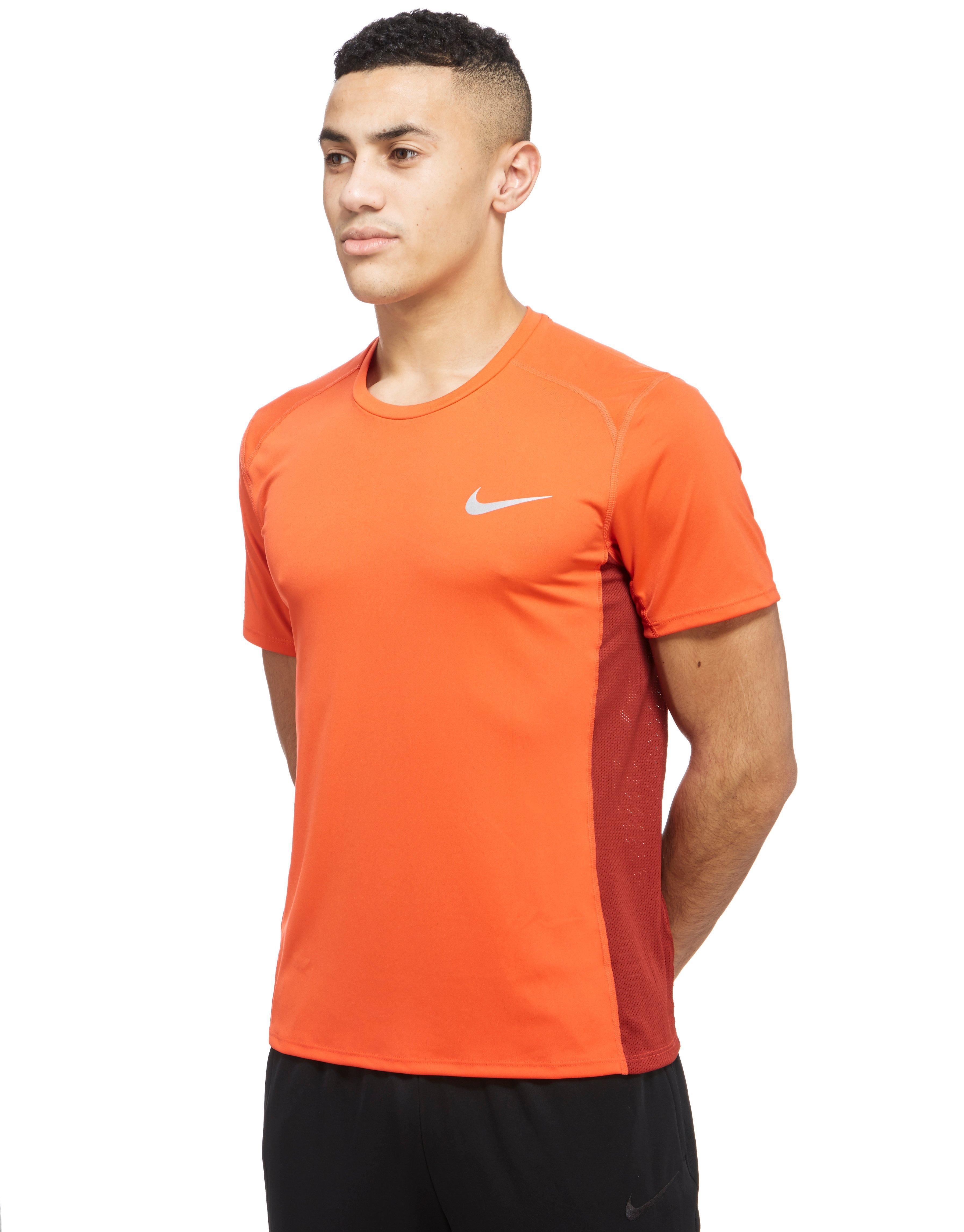 Lyst Nike Miler Short Sleeve T Shirt In Orange For Men
