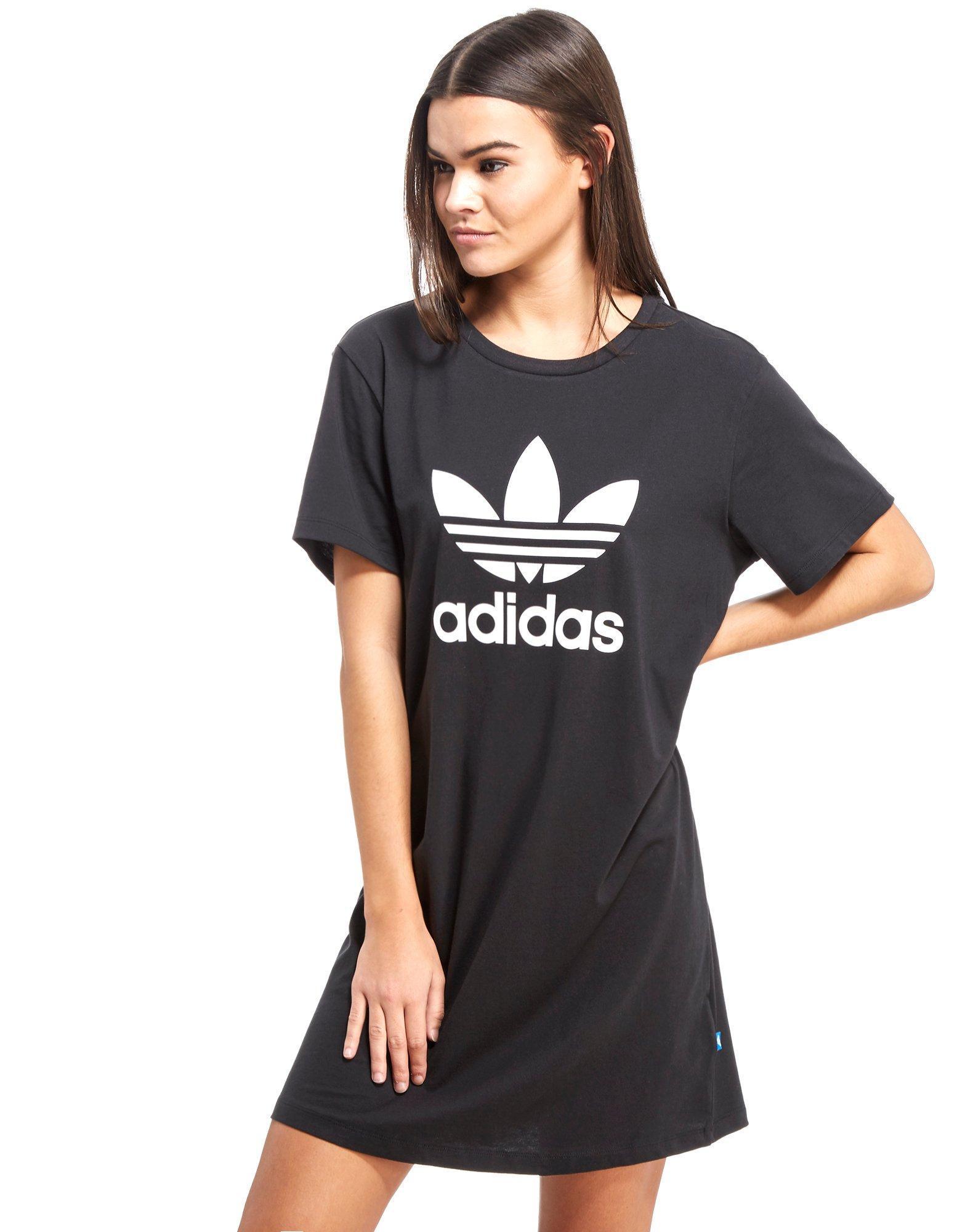 27f953da5a1 Lyst - adidas Originals Trefoil T-shirt Dress in Black