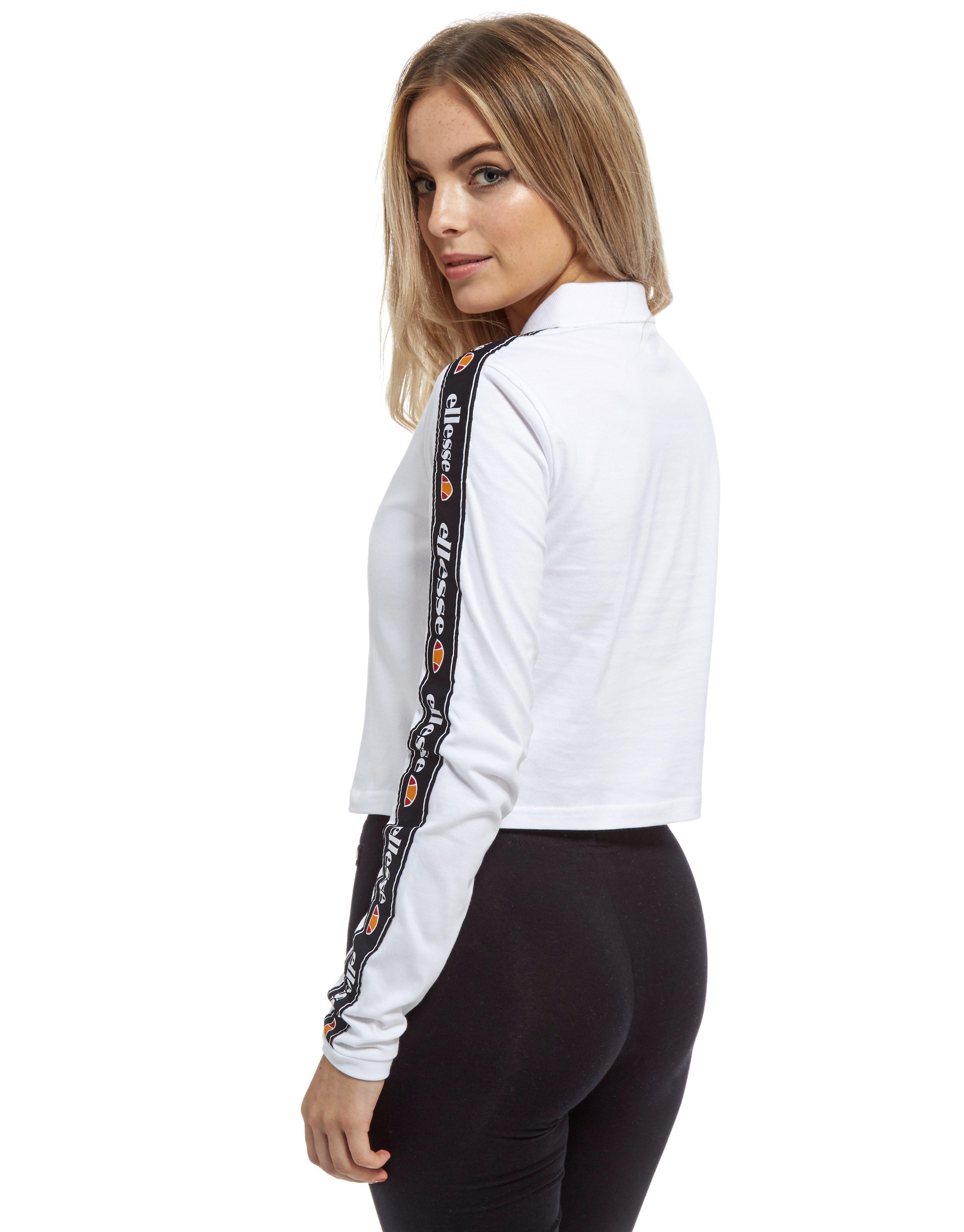 d9c308312af Ellesse Long Sleeve Crop Polo Top in White - Lyst