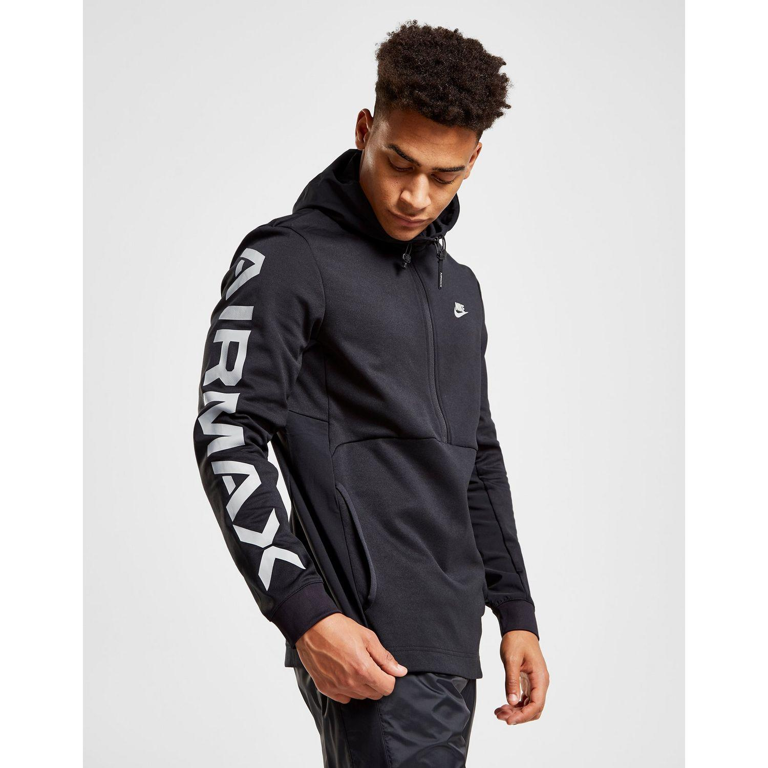 outlet store select for latest attractive style Nike Black Air Max Poly 1/2 Zip Hoodie for men
