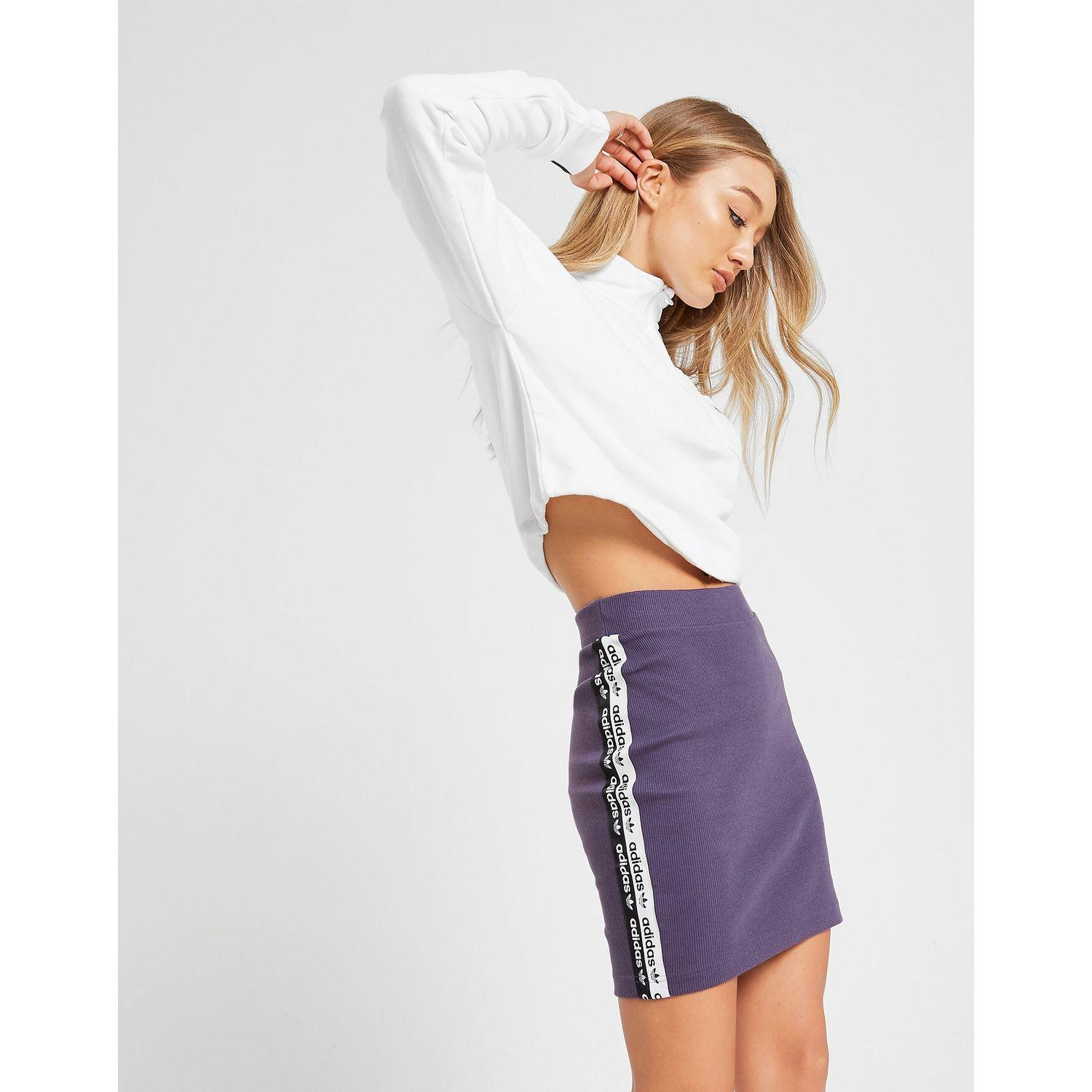 more photos 4113b 37629 adidas Originals R.y.v. Ribbed Logo Tape Skirt in Purple - Lyst