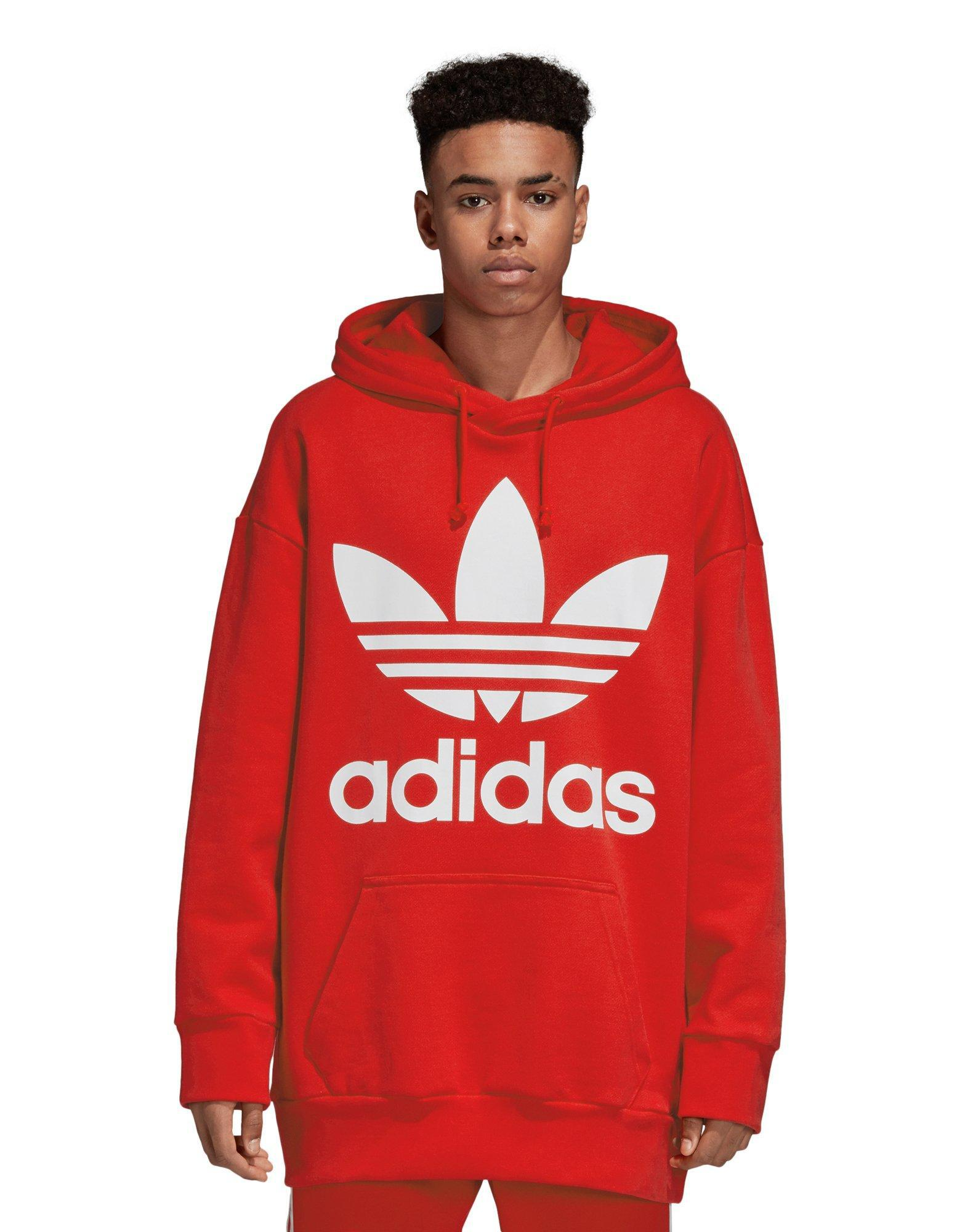 e0dc363fe6bd0 Adidas Trefoil Oversize Hoodie in Red for Men - Lyst