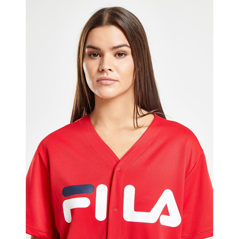 4ef901b571fbe6 Fila - Red Mesh Baseball T-shirt - Lyst. View fullscreen