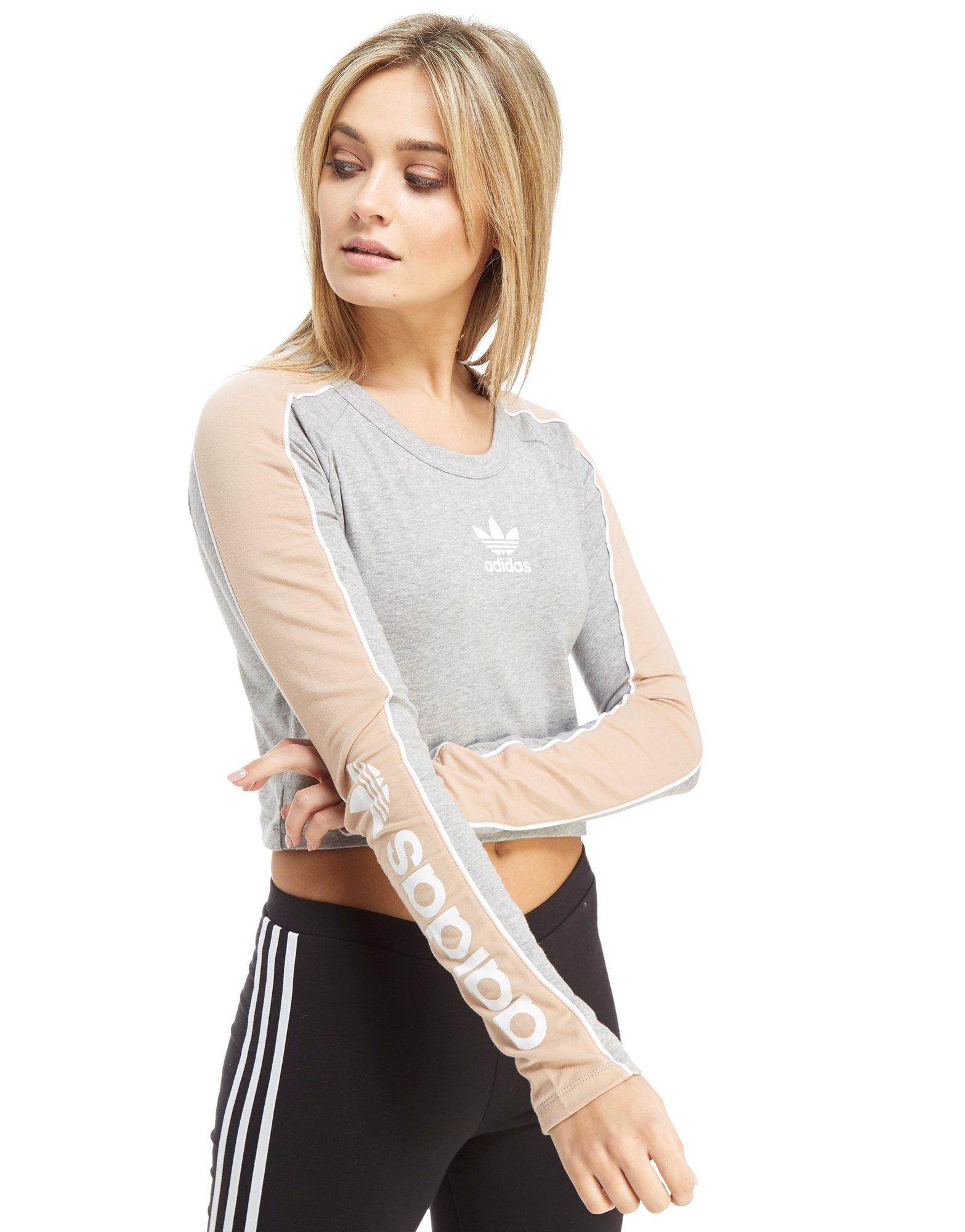 online shop special for shoe best authentic adidas Originals Linear Long Sleeve Crop T-shirt in Gray - Lyst