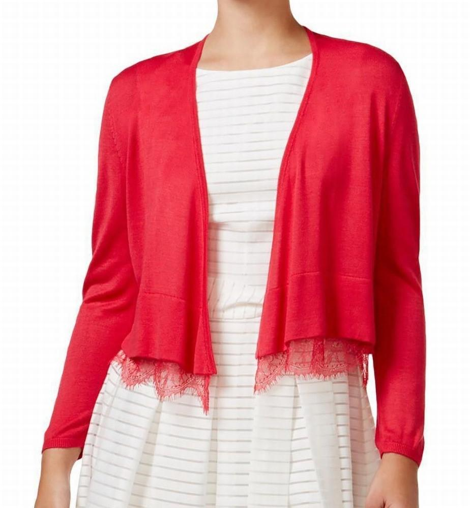Tommy hilfiger Red Size Small S Cardigan Lace Sweater in Red | Lyst