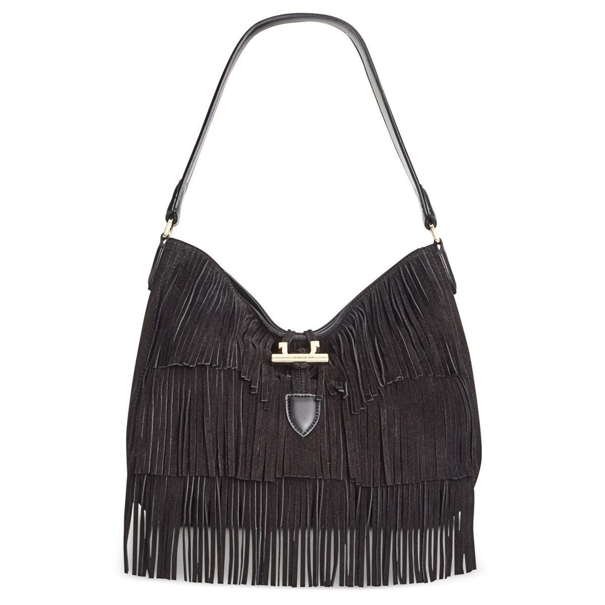 Calvin Klein Women S Black Pinnacle Suede Fringe Hobo Handbag