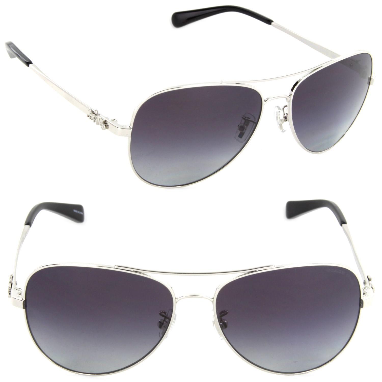 27c283a08e623 Lyst - COACH Hc7074-90018j-59 Pilot Sunglasses Silver purple Grey ...