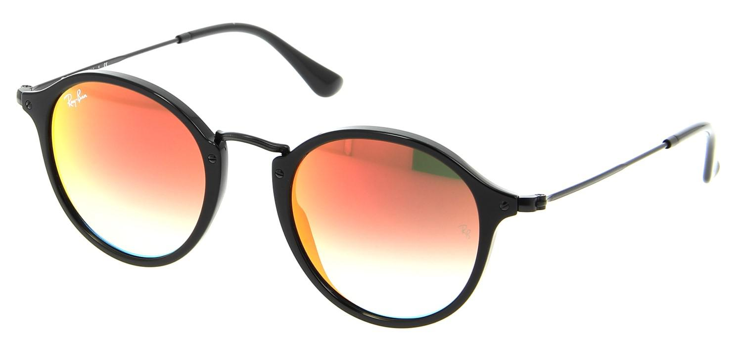 4253d1864d8 Lyst - Ray-Ban 0rb2447f 901 4w 52 Shiny Black mirror Gradient Red ...