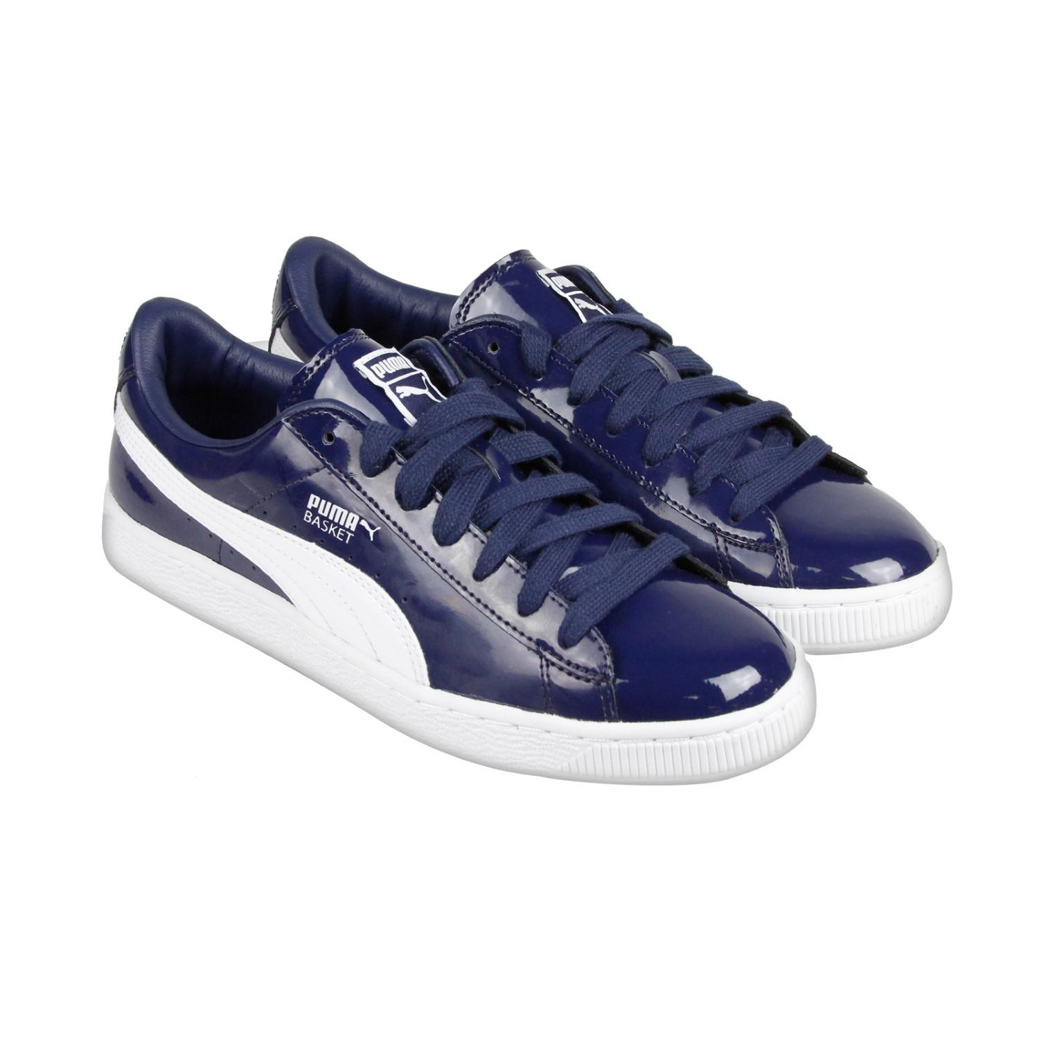 db459fd0cd58 Lyst - Puma Basket Matte   Shine Peacoat White Lace Up Sneakers in ...