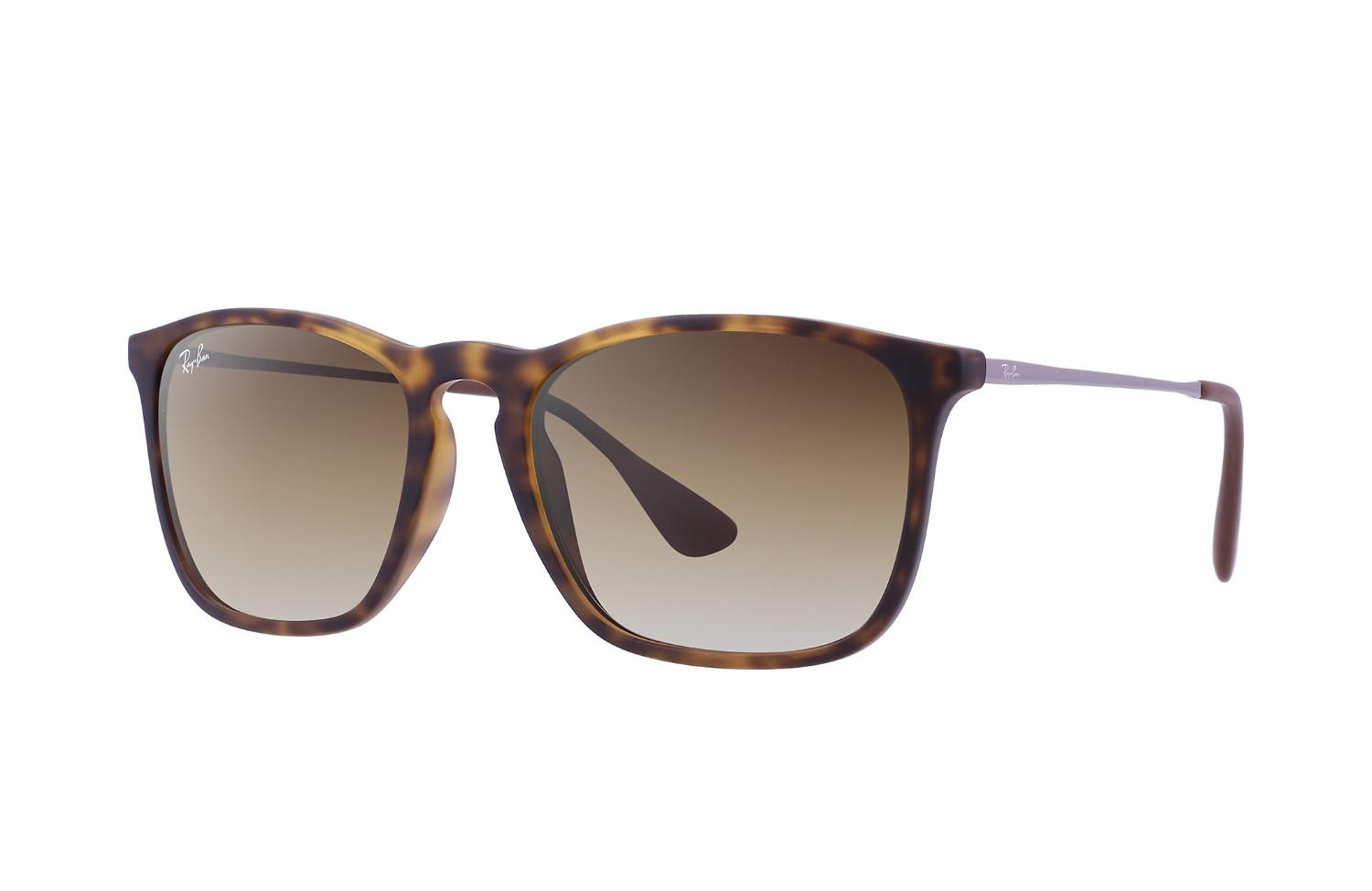 6f49ec1cce Lyst - Ray-Ban 0rb4187f 856 13 54 Havana Rubber brown Gradient Chris ...
