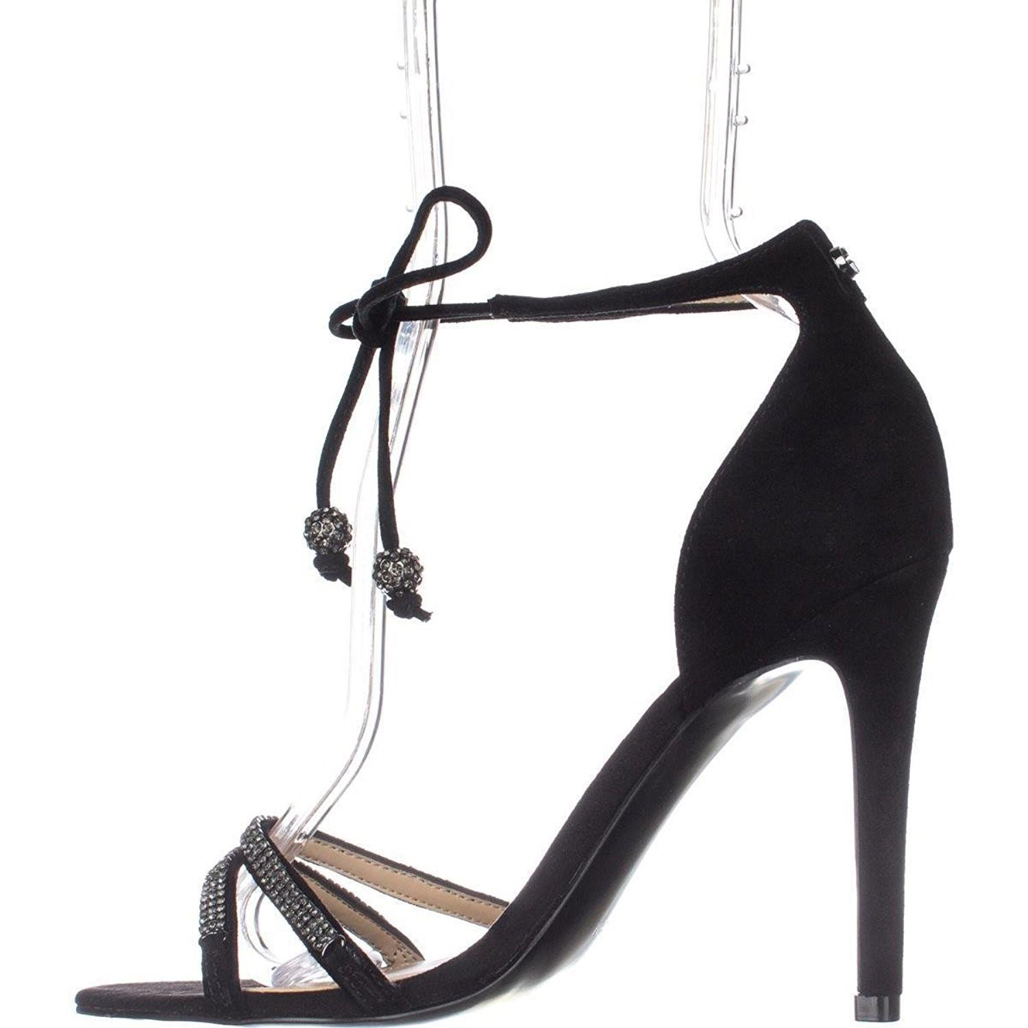 Lyst Guess Peri Tie Up Ankle Strap Heeled Sandals Black In Black