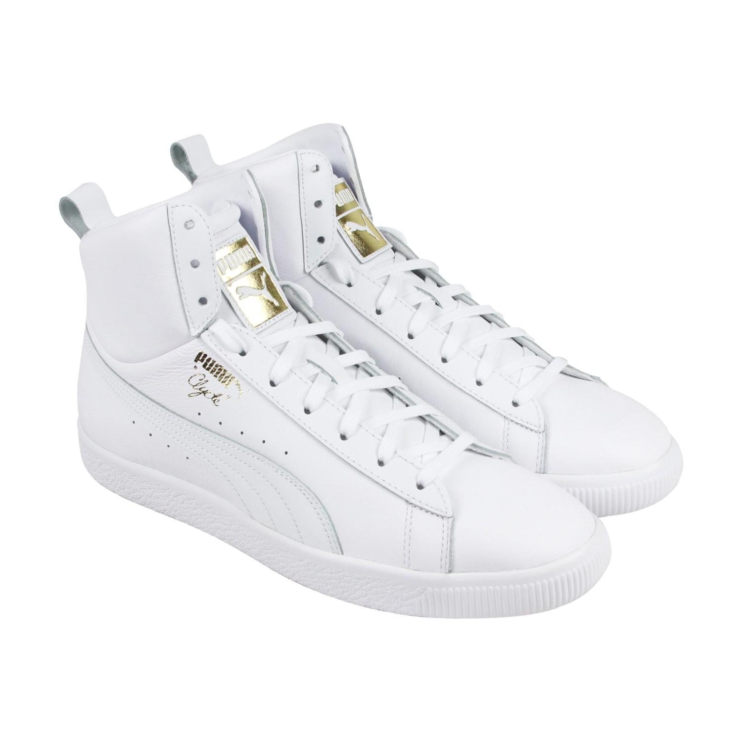 c5c871a0cbb Lyst - PUMA Clyde Mid Core Foil White Mens High Top Sneakers in ...