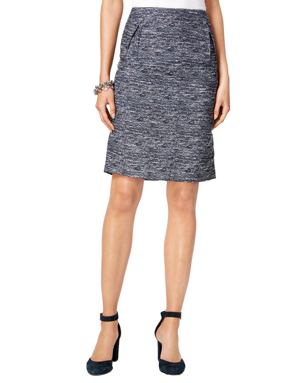 0ca8252bd Lyst - Tommy Hilfiger Tweed Pleat Detail Straight Skirt in Blue